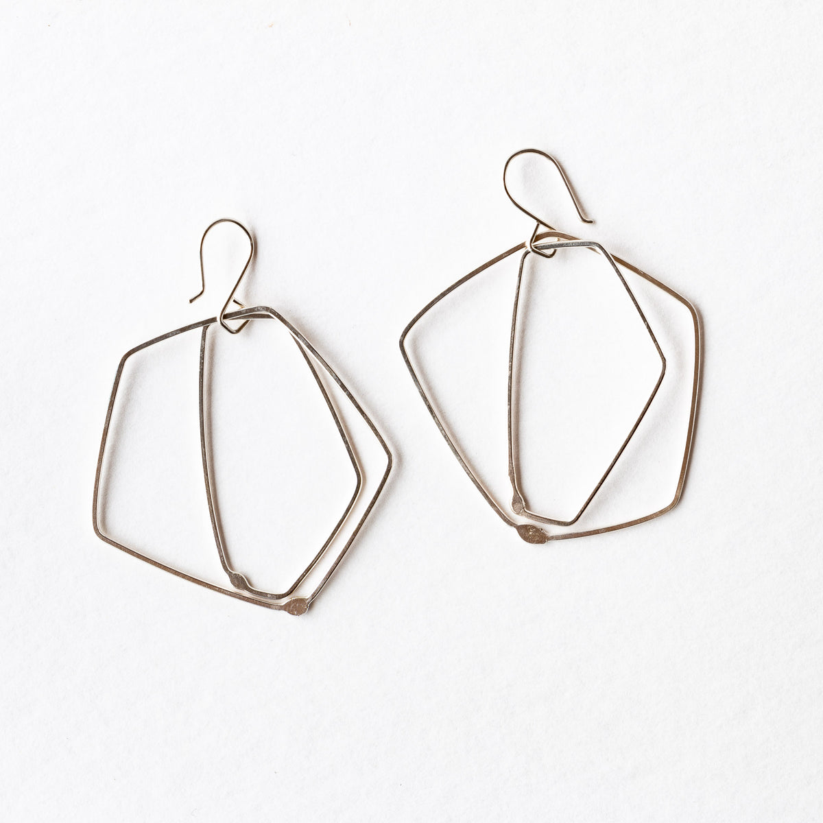 Top View - Sterling Silver Minimalist Earrings - ES02 - Sold by Chic & Basta