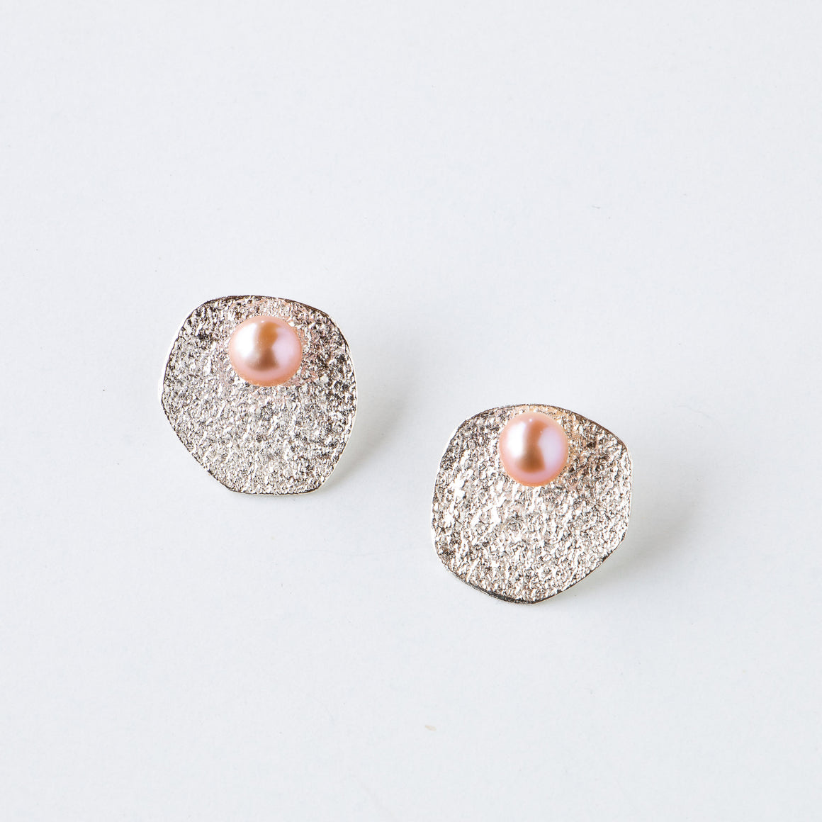 Shown on Model - Flora - Silver & Pink Pearl Ear Jacket Earrings - Sold by Chic & Basta