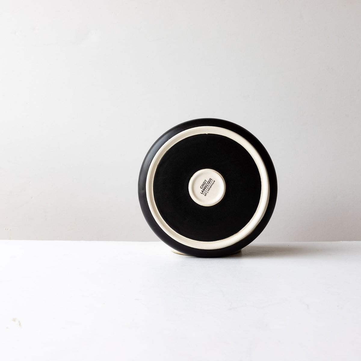 Rear View - Black Satin Glaze Hand Thrown Small Porcelain Plate - Sold by Chic & Basta