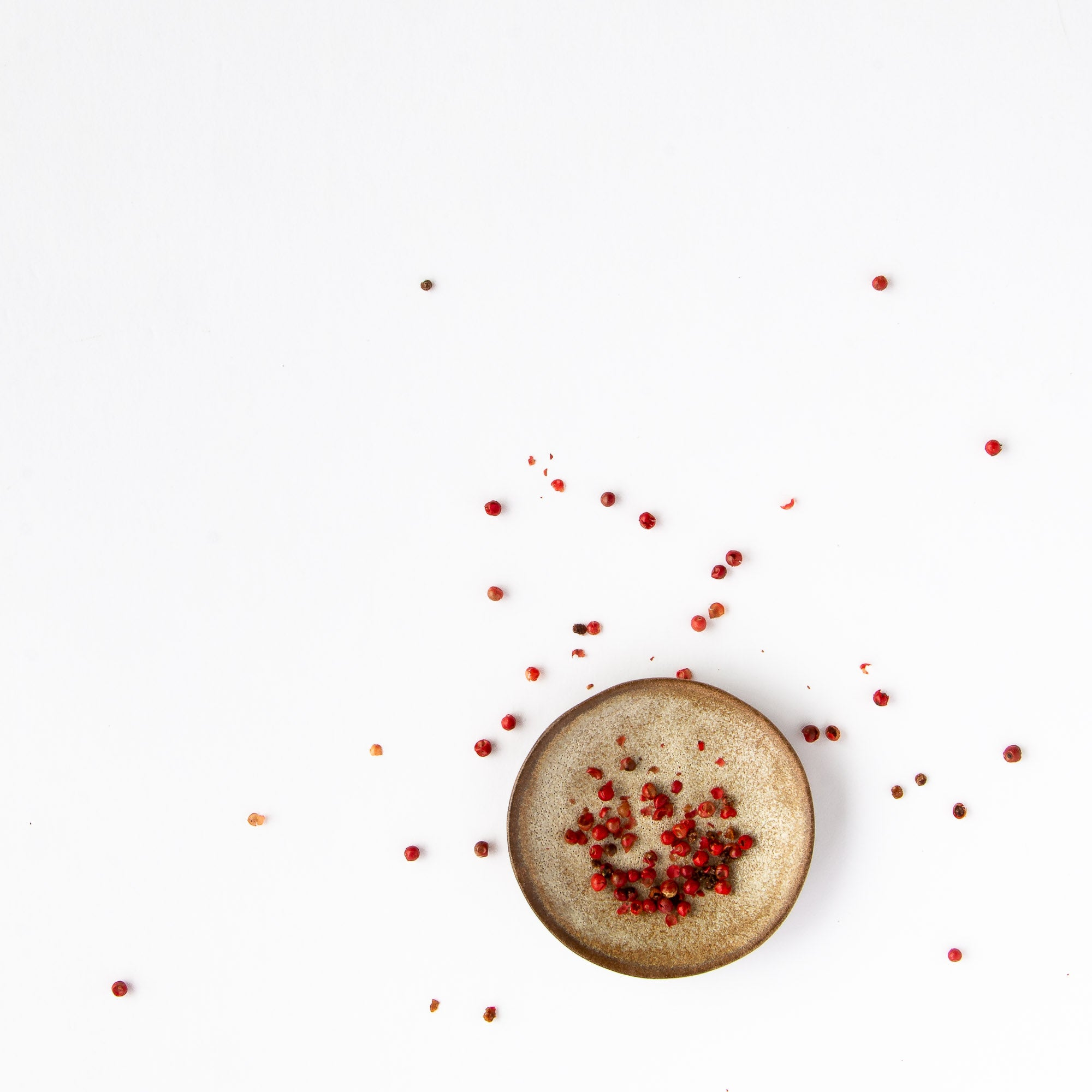 Handcrafted Small Dishes in Black Stoneware Shown with Red Peppercorns - Sold by Chic & Basta