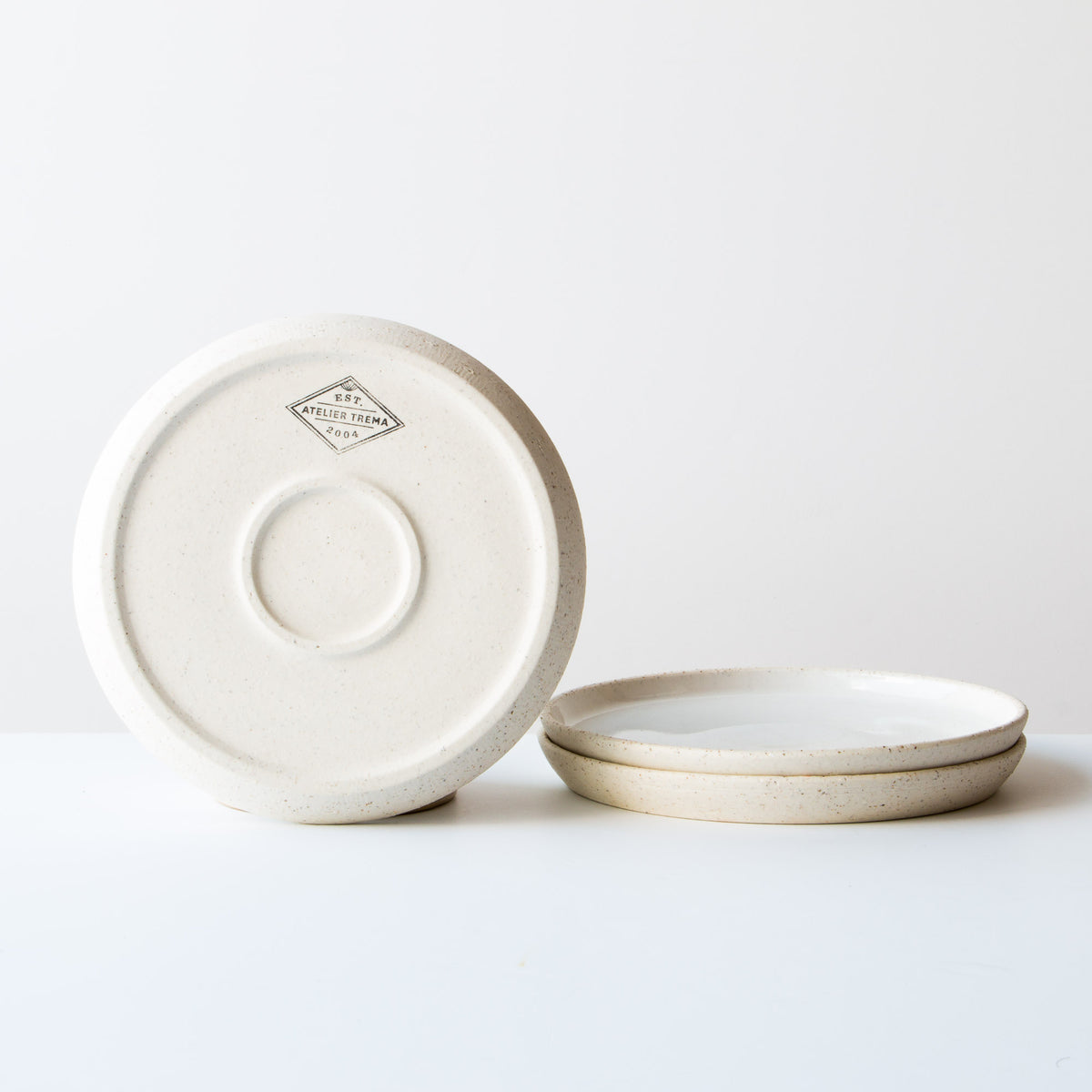 Rear View - Oatmeal Clay - Soft White Glaze - Small Ceramic Plate - Handmade in Quebec, Canada