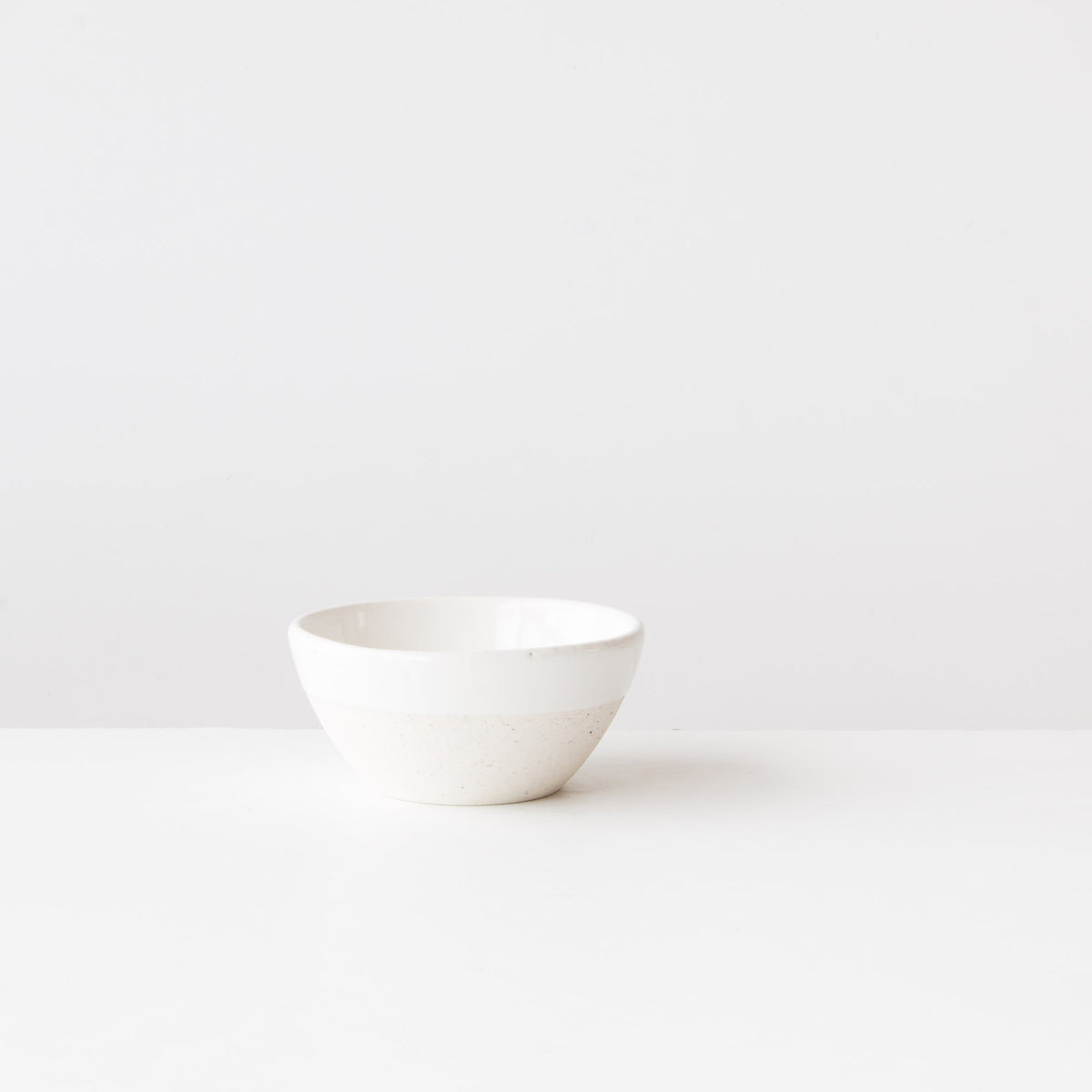Side View - Oatmeal Clay Hand-Thrown Small Pottery Soup Bowl - Sold by Chic & Basta