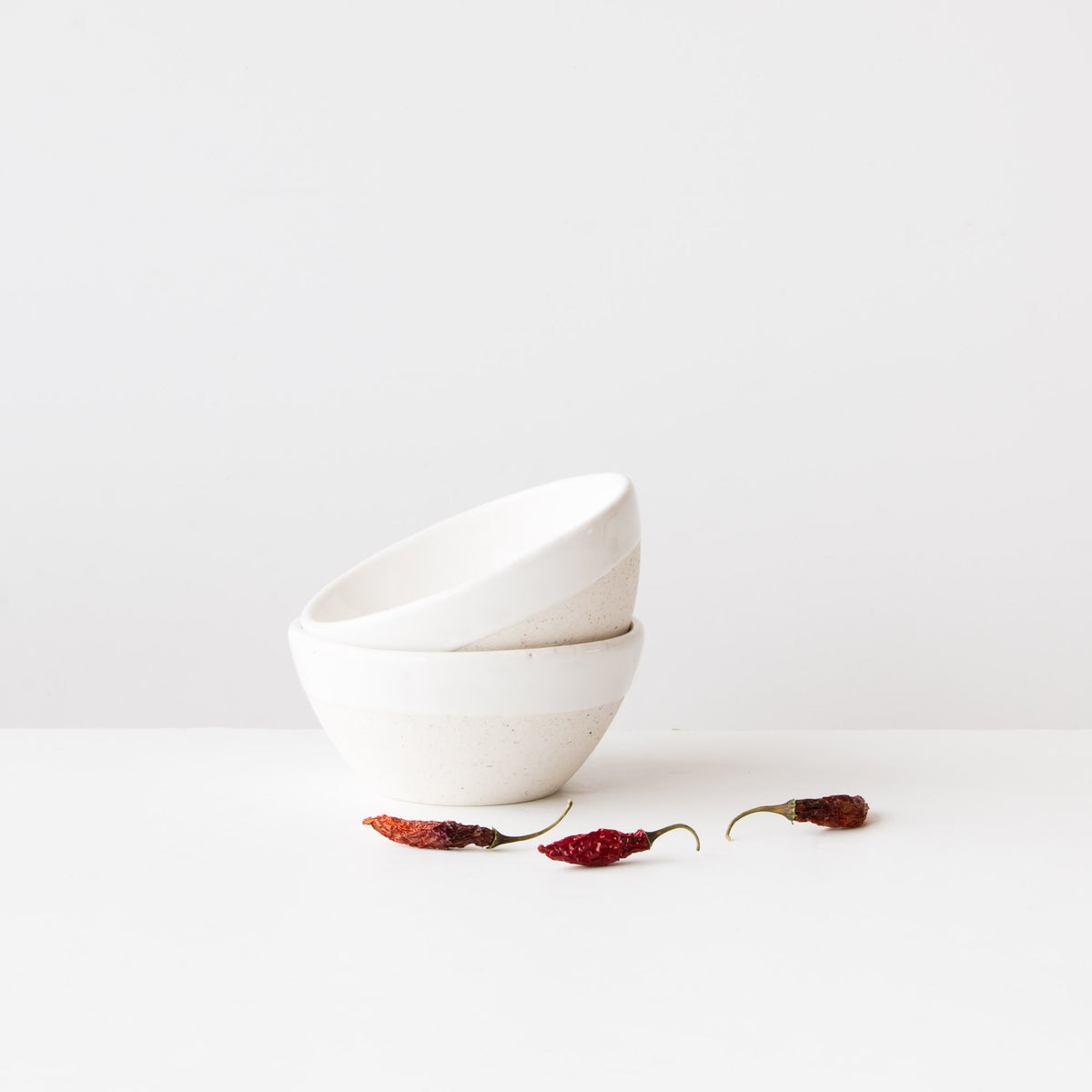 Oatmeal Clay - Soft White Glaze. - Two Hand-Thrown Small Pottery Soup Bowls - Sold by Chic & Basta