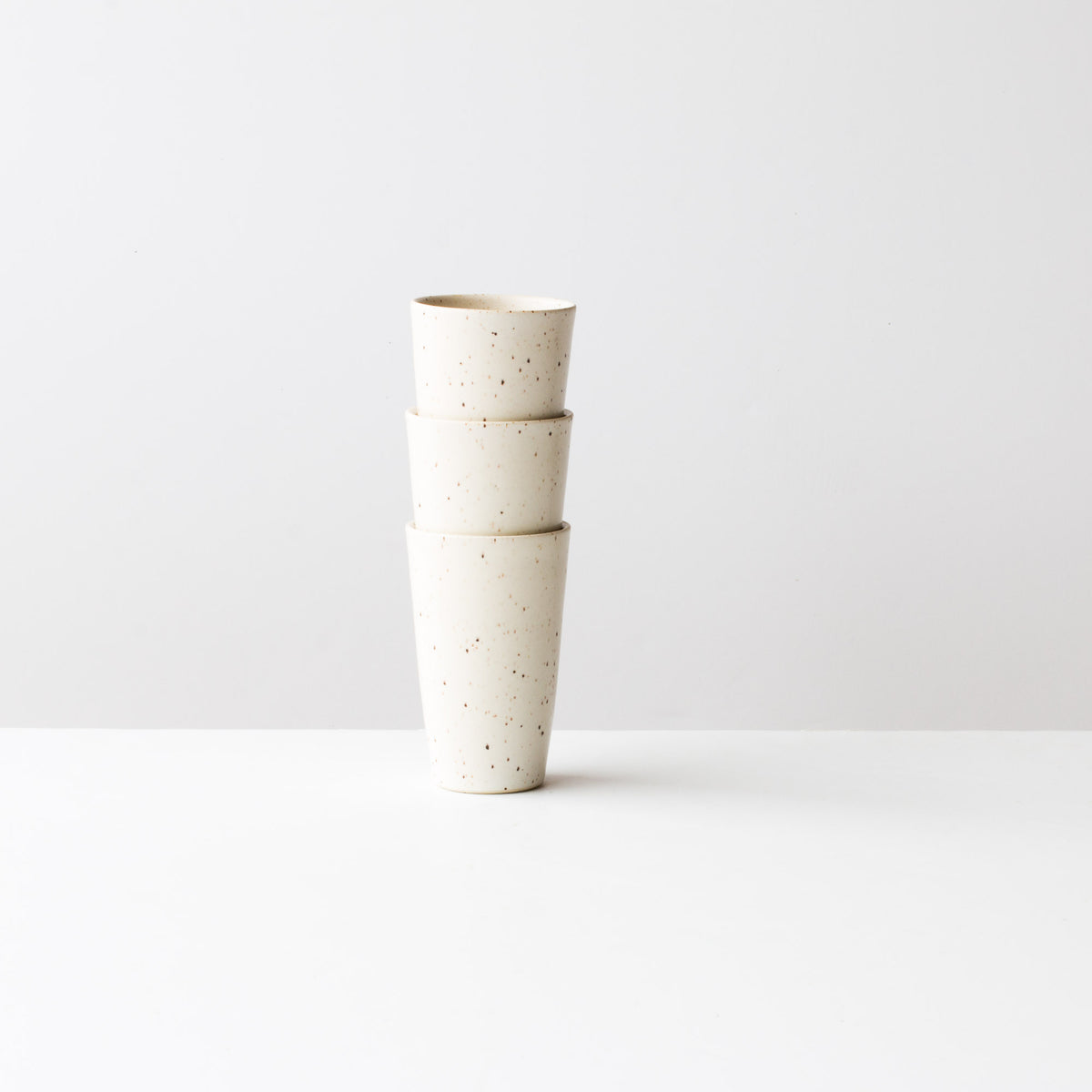 Speckled Off-White -  Three Handmade Small Ceramic Goblets / Tumblers - Sold by Chic & Basta