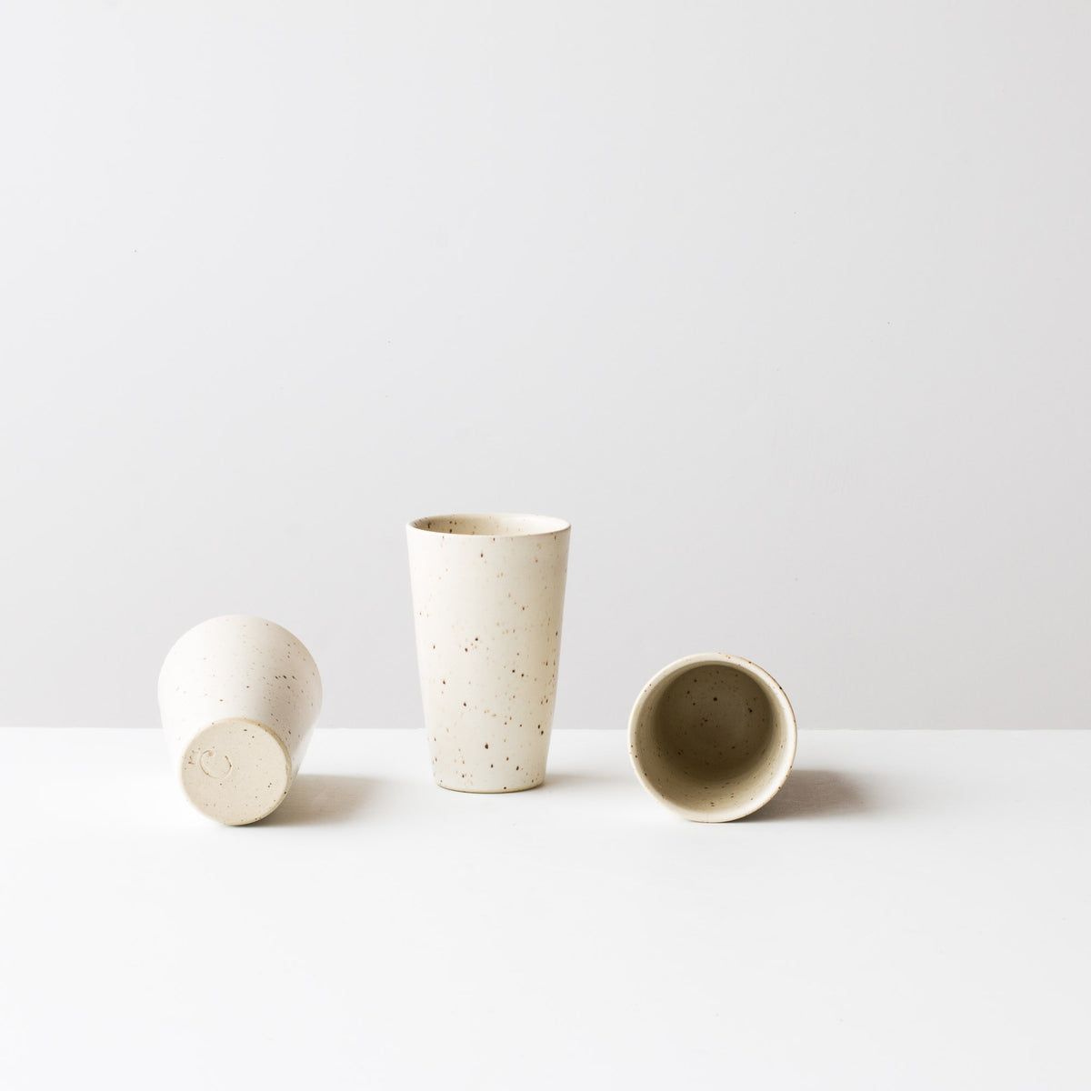 Speckled Off-White -  Handmade Small Ceramic Goblets / Tumblers - Sold by Chic & Basta