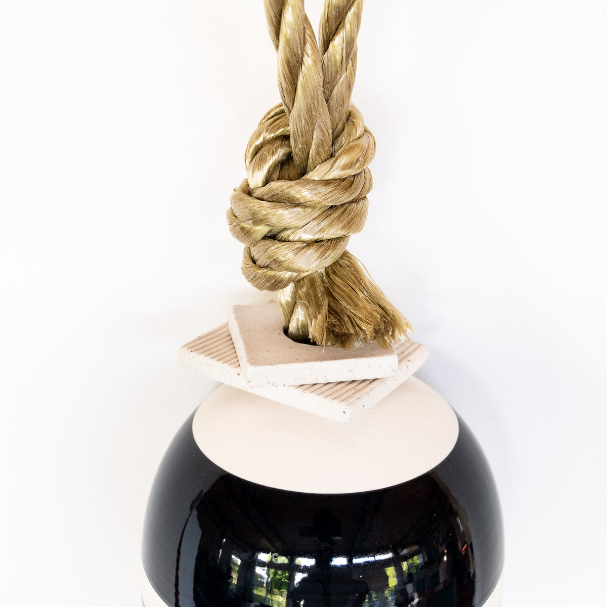 Detail - Small Dark Marine & White Hanging Decorative Buoy - Sold by Chic & Basta