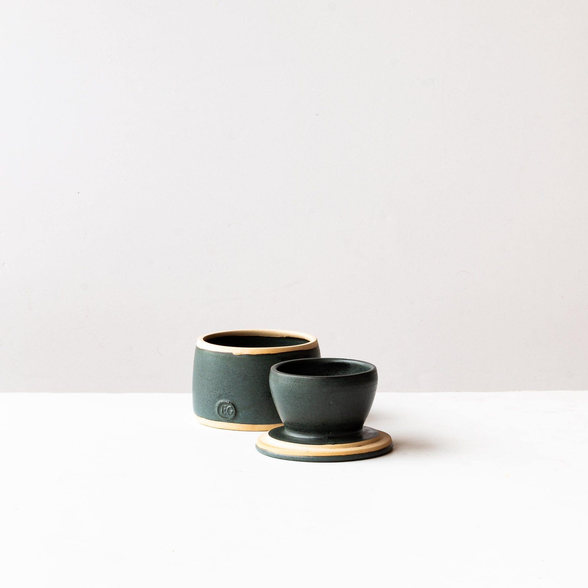 Handmade Small French Butter Crock in Charcoal Glazed Stoneware - Sold by Chic & Basta
