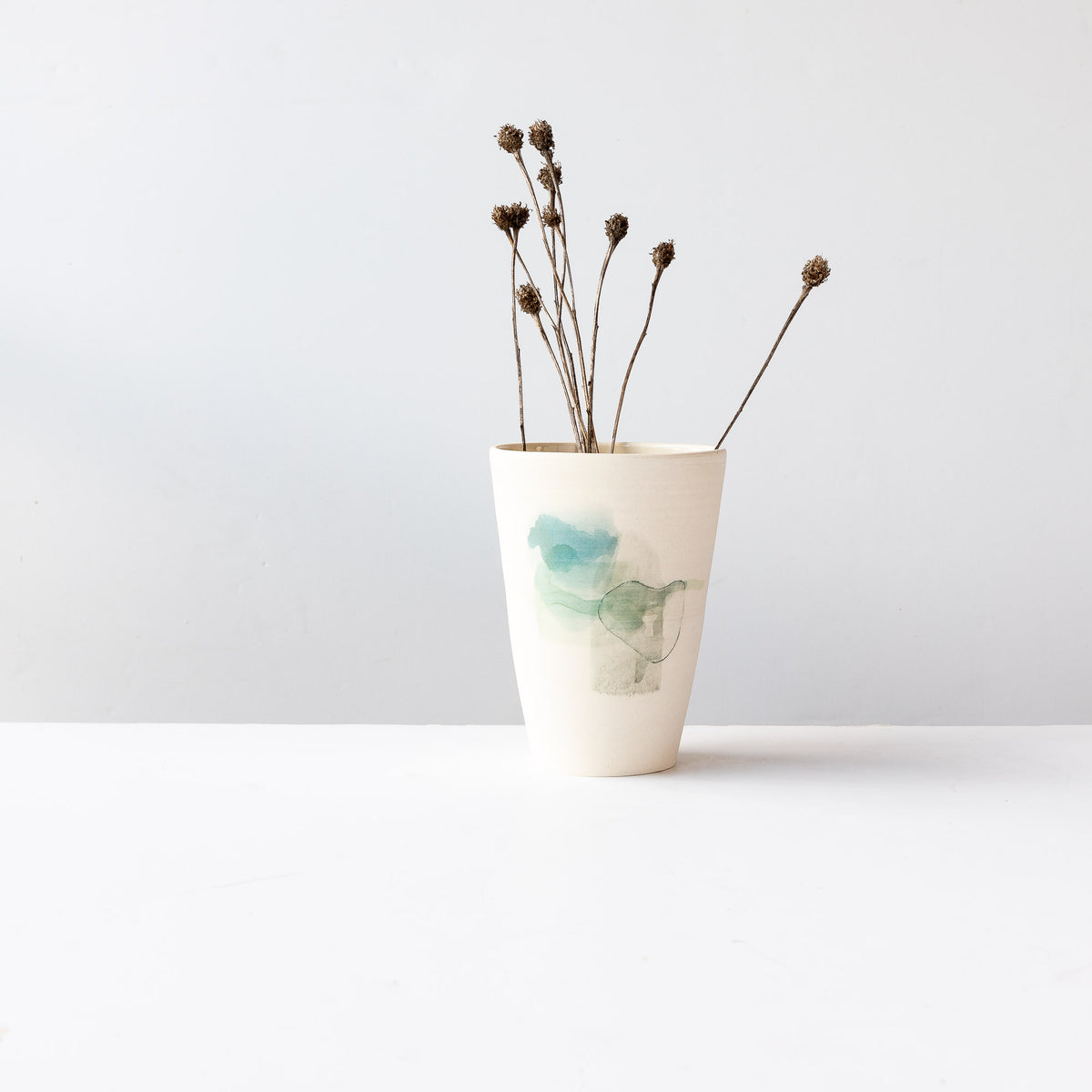 Hand Painted Porcelain Vase Shown With Dry Flowers - Sold by Chic & Basta