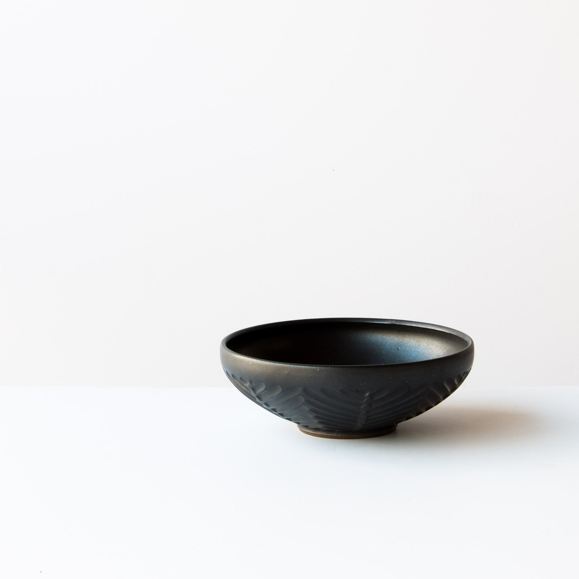 Side View - Black Colour - Small Hand Thrown Ceramic Bowl - Handmade in Canada - Chic & Basta