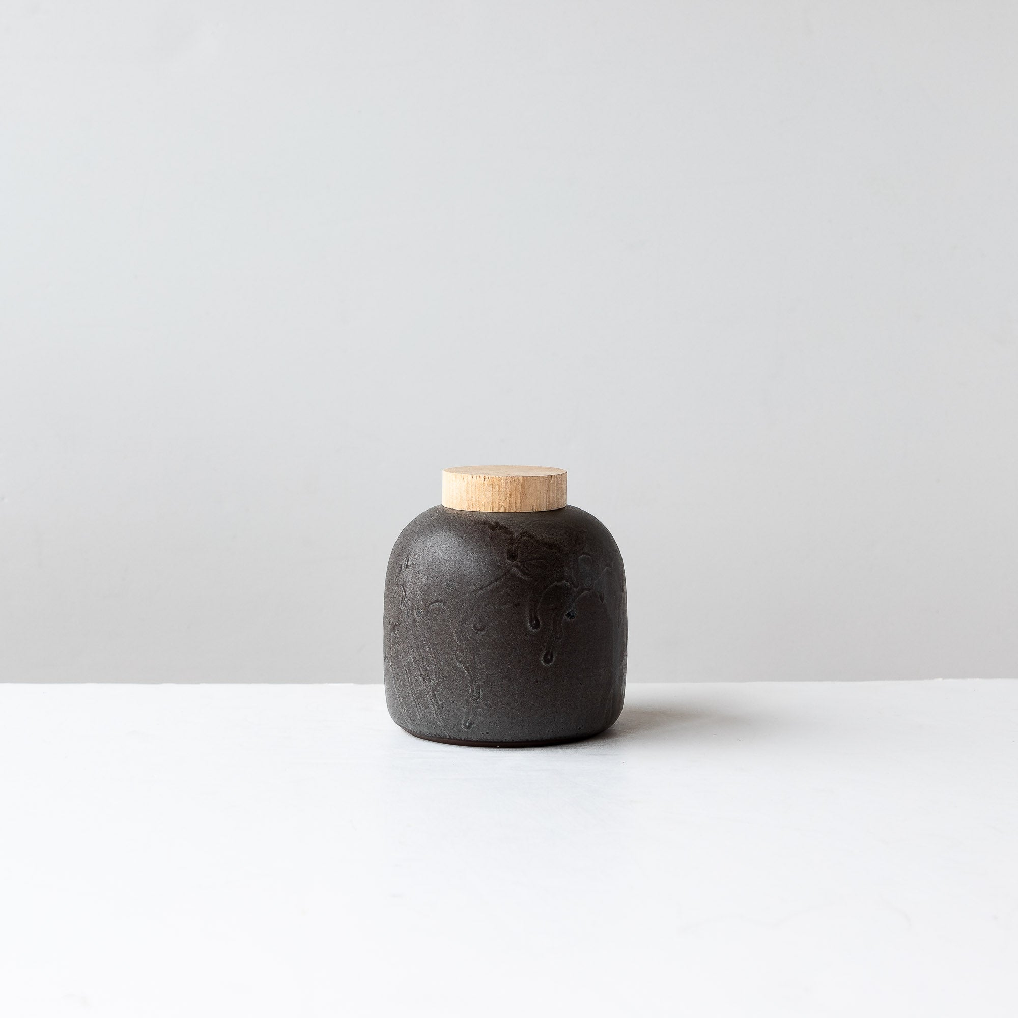 Square Handmade Small Jar with Wooden Lid - Sold by Chic & Basta