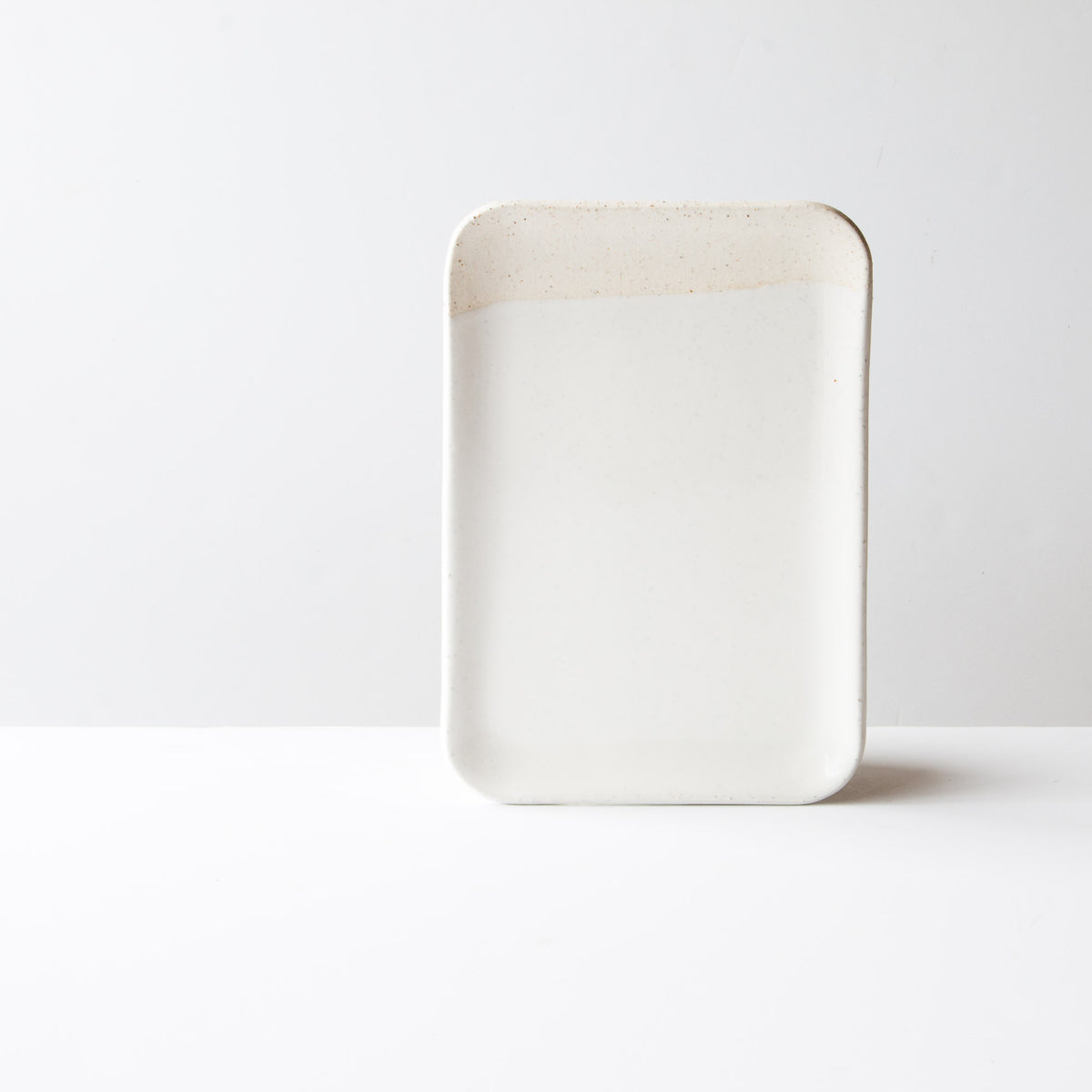 Oatmeal Clay - Soft White Glaze - Handmade Ceramic Small Square Serving Board