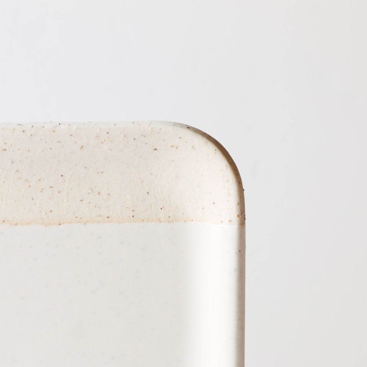 Detailed View - Oatmeal Clay - Soft White Glaze - Handmade Ceramic Small Square Serving Board