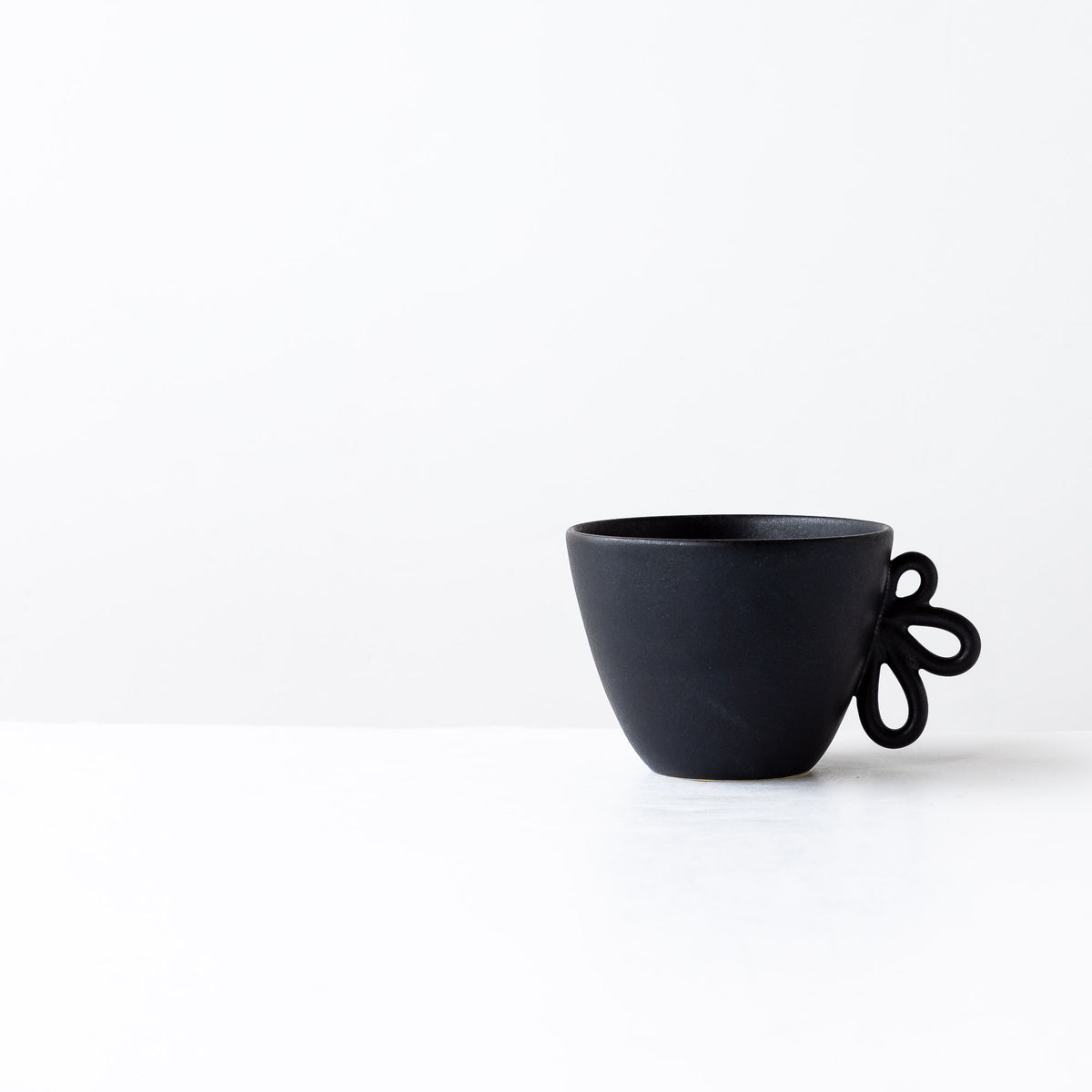 Charcoal Black Small Round Wheel Thrown Stoneware Mug - Sold by Chic & Basta