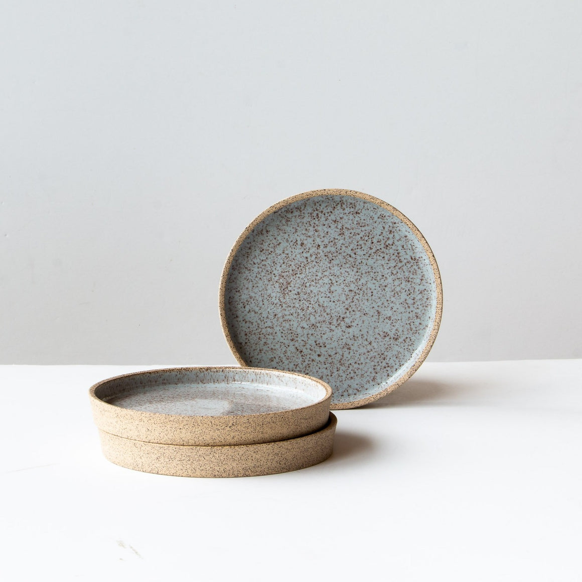 Front View - Small Speckled Stoneware Plate - Pale Blue Glaze - Sold by Chic & Basta