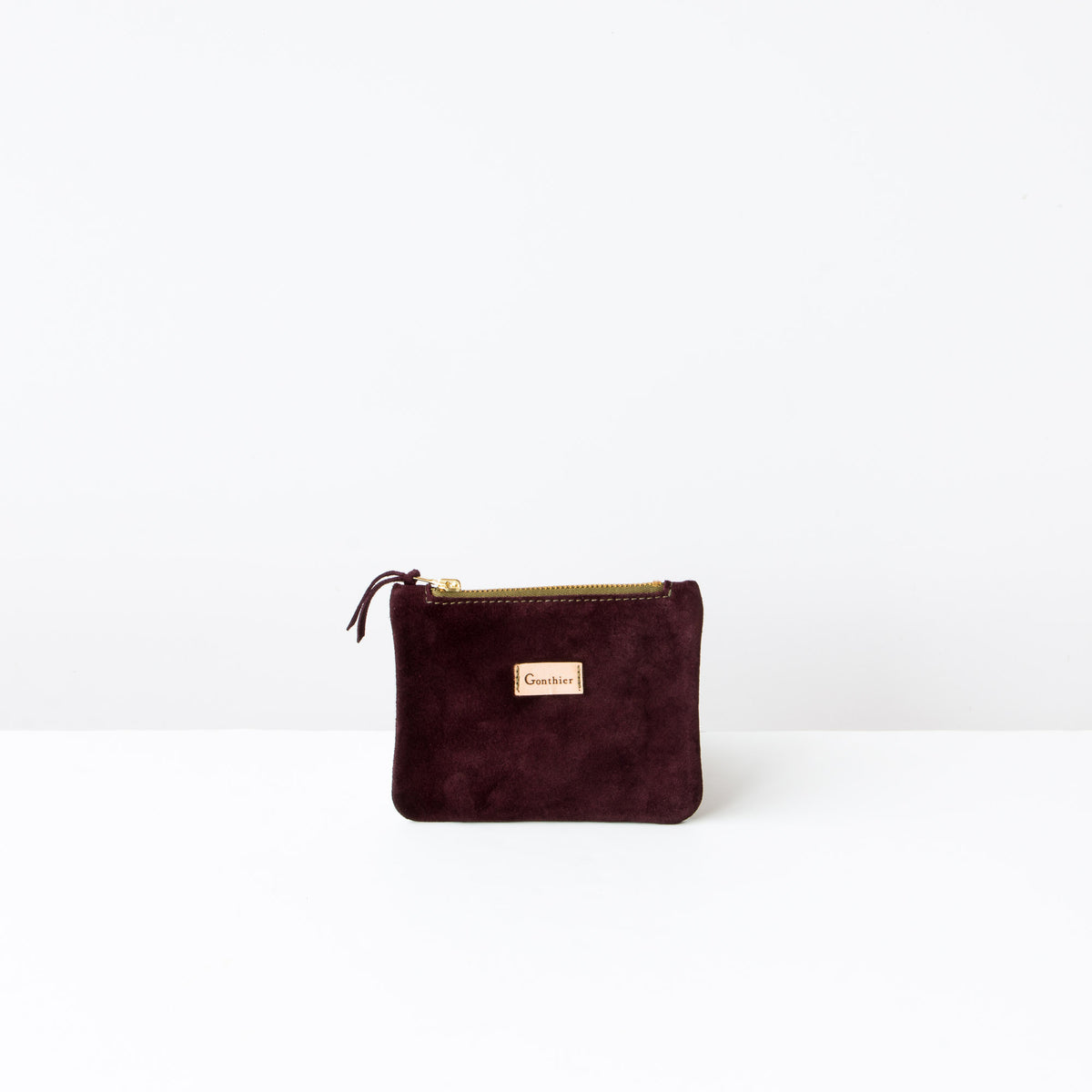 Bordeaux & Khaki - Handmade Small Wallet in Suede Calfskin - Sold by Chic & Basta