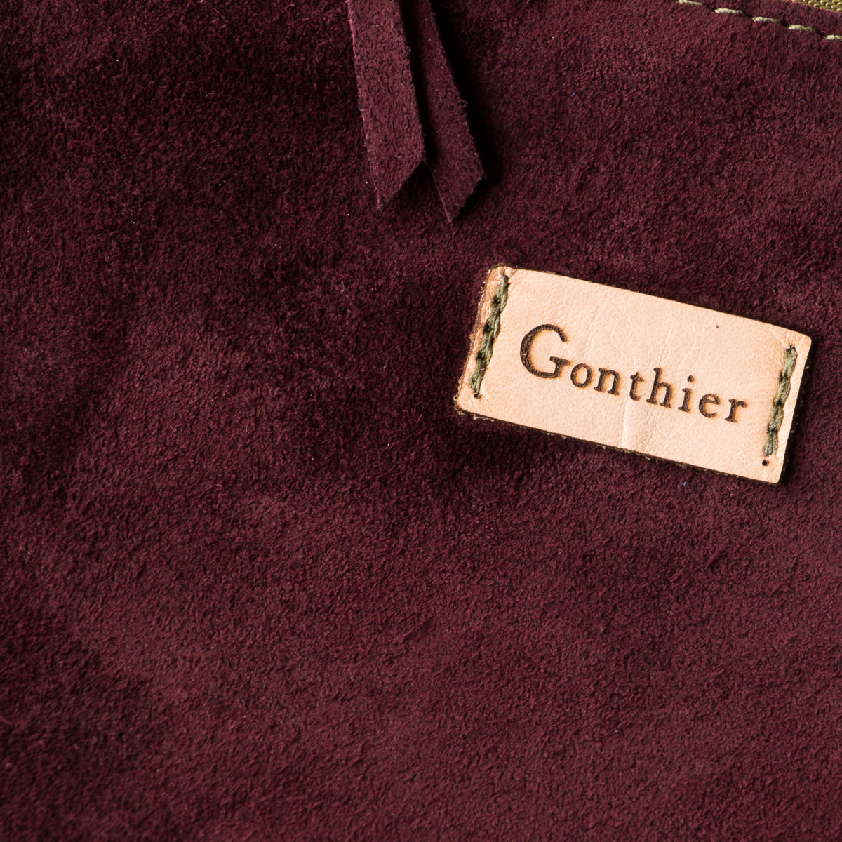 Suede Detail - Bordeaux & Khaki - Handmade Long Pouch in Suede Calfskin - Sold by Chic & Basta