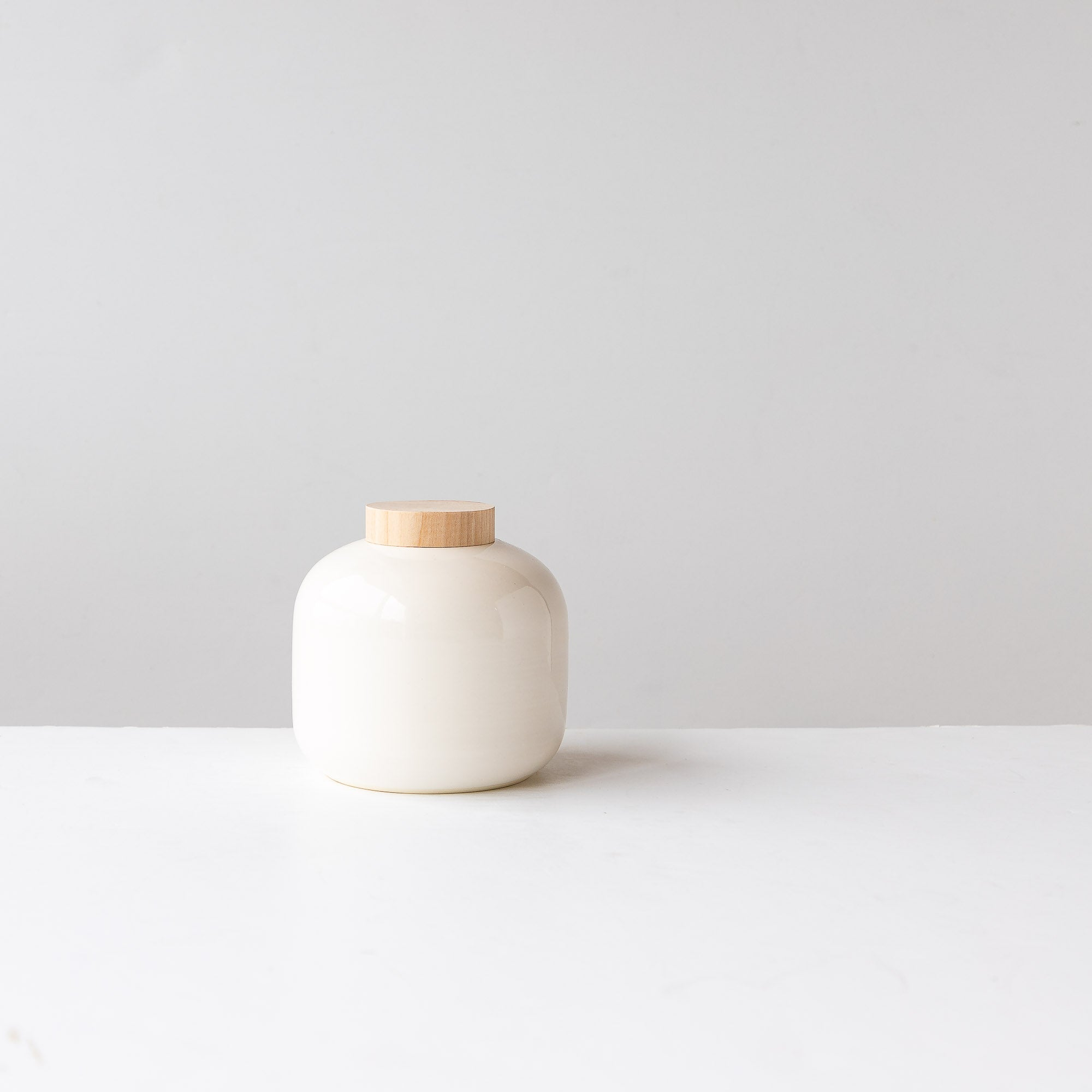 Handmade Small White Pot with Wood Lid - Sold by Chic & Basta