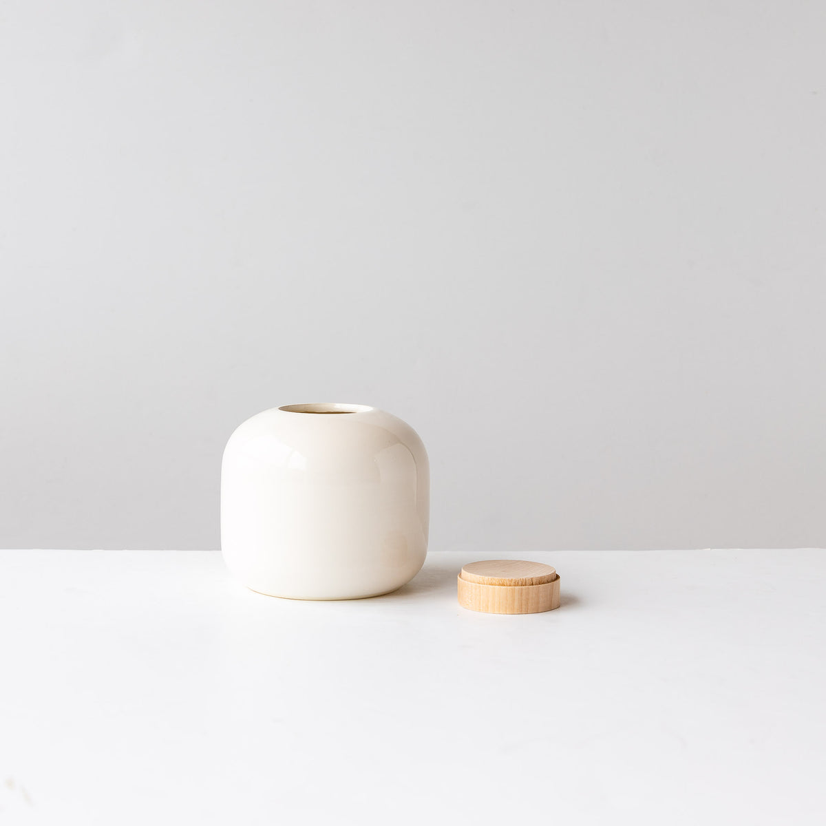 Small White Pot with Wooden Lid - Sold by Chic & Basta