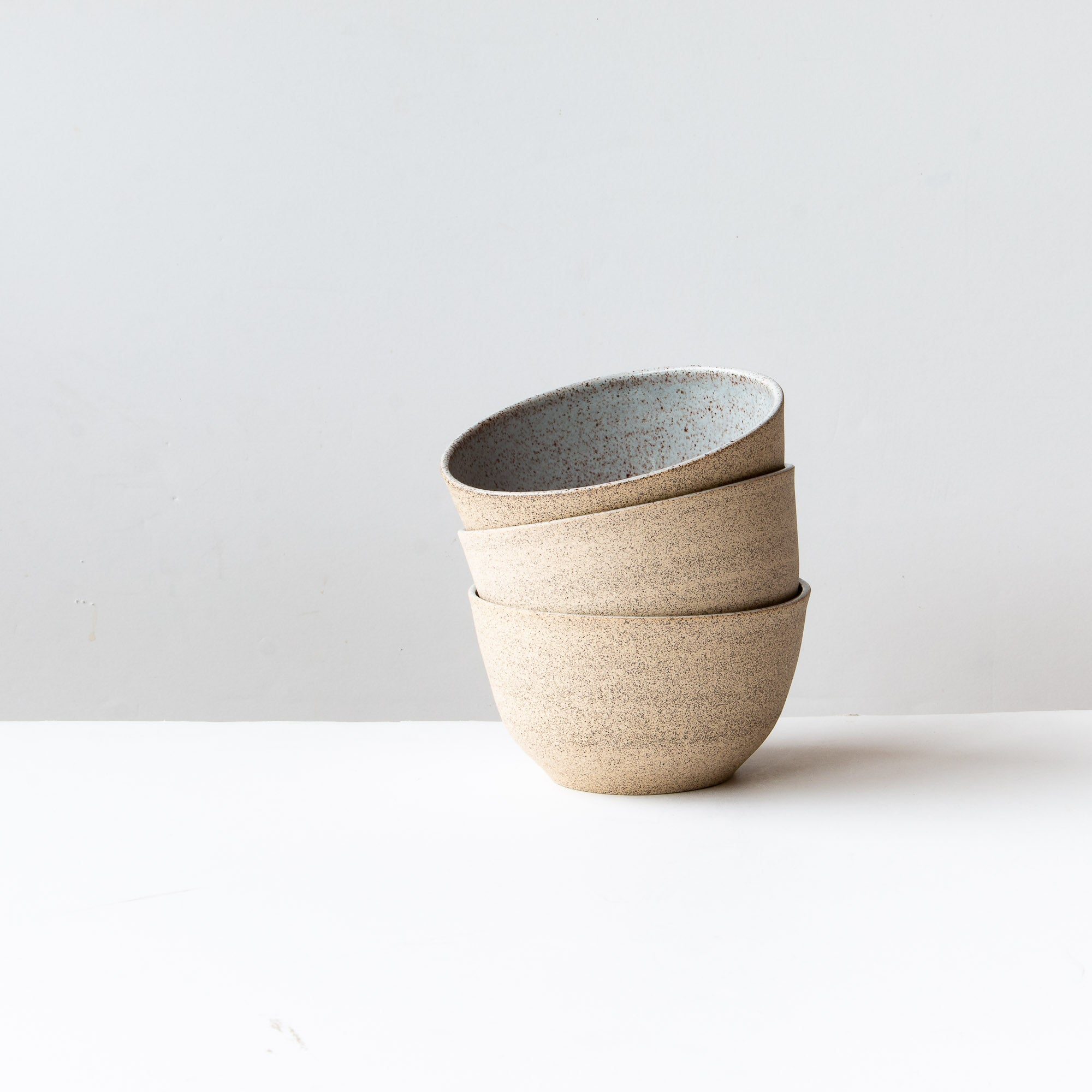 Three Speckled Stoneware Bowls - Pale Blue Glaze - Sold by Chic & Basta