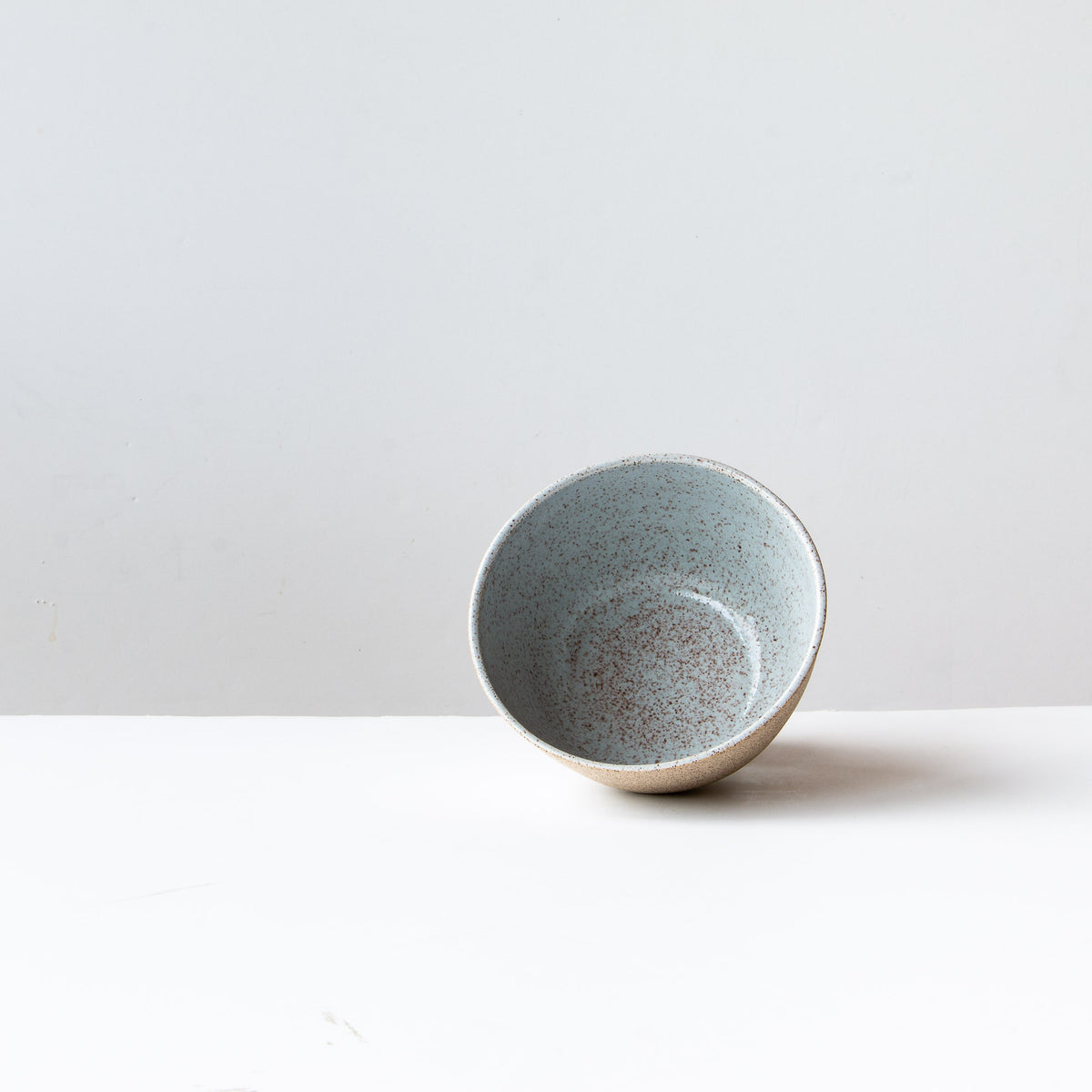 Pale Blue Glaze Interior Detail - Speckled Stoneware Bowl - Pale Blue Glaze - Sold by Chic & Basta