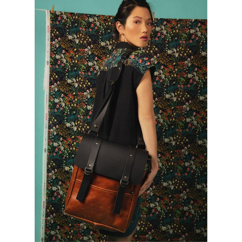 Stone Ridge - Caramel & Black Handcrafted Leather Backpack / Crossbody Bag - Sold by Chic & Basta