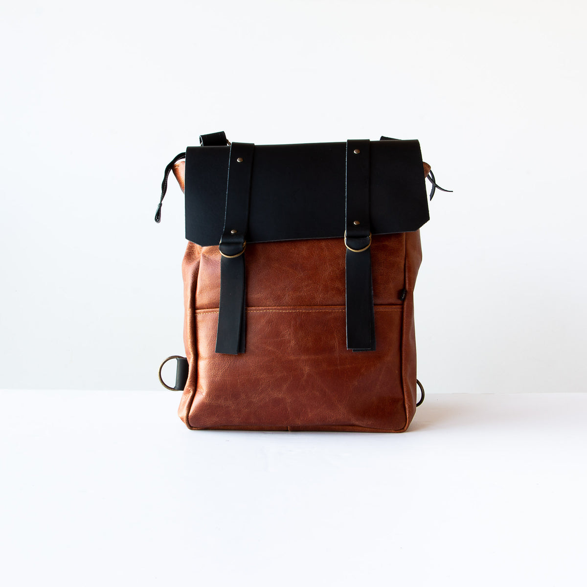 Caramel & Black Handcrafted Leather Backpack / Crossbody Bag - Sold by Chic & Basta