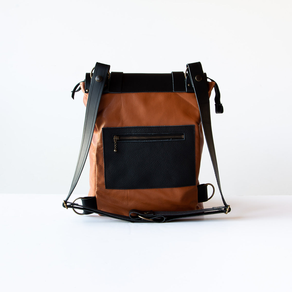 rear-View Caramel & Black Handcrafted Leather Backpack / Crossbody Bag - Sold by Chic & Basta