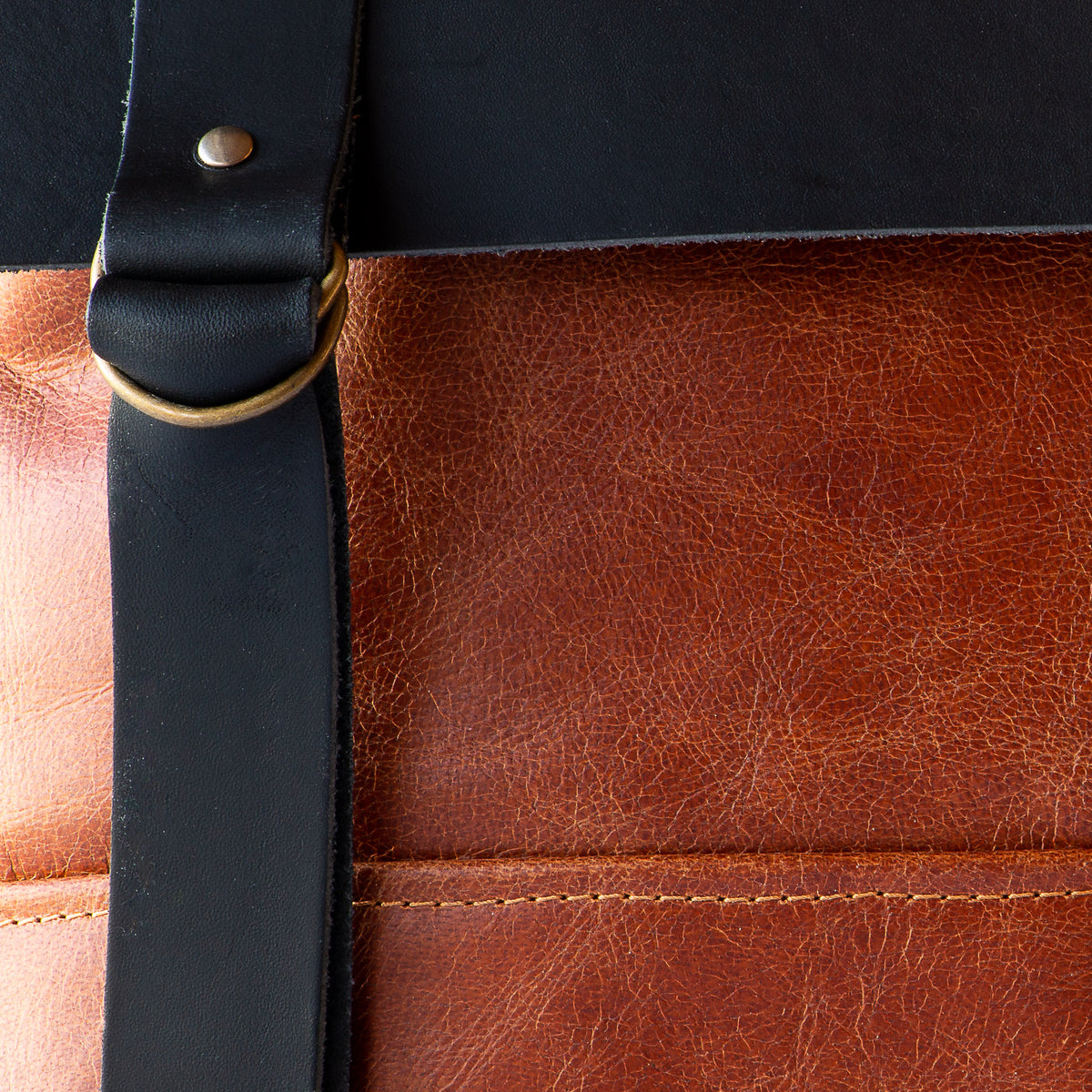 Leather Detail - Caramel & Black Handcrafted Leather Backpack / Crossbody Bag - Sold by Chic & Basta
