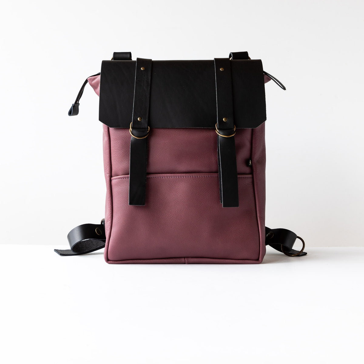 Purple & Black Handcrafted Leather Backpack / Crossbody Bag - Sold by Chic & Basta