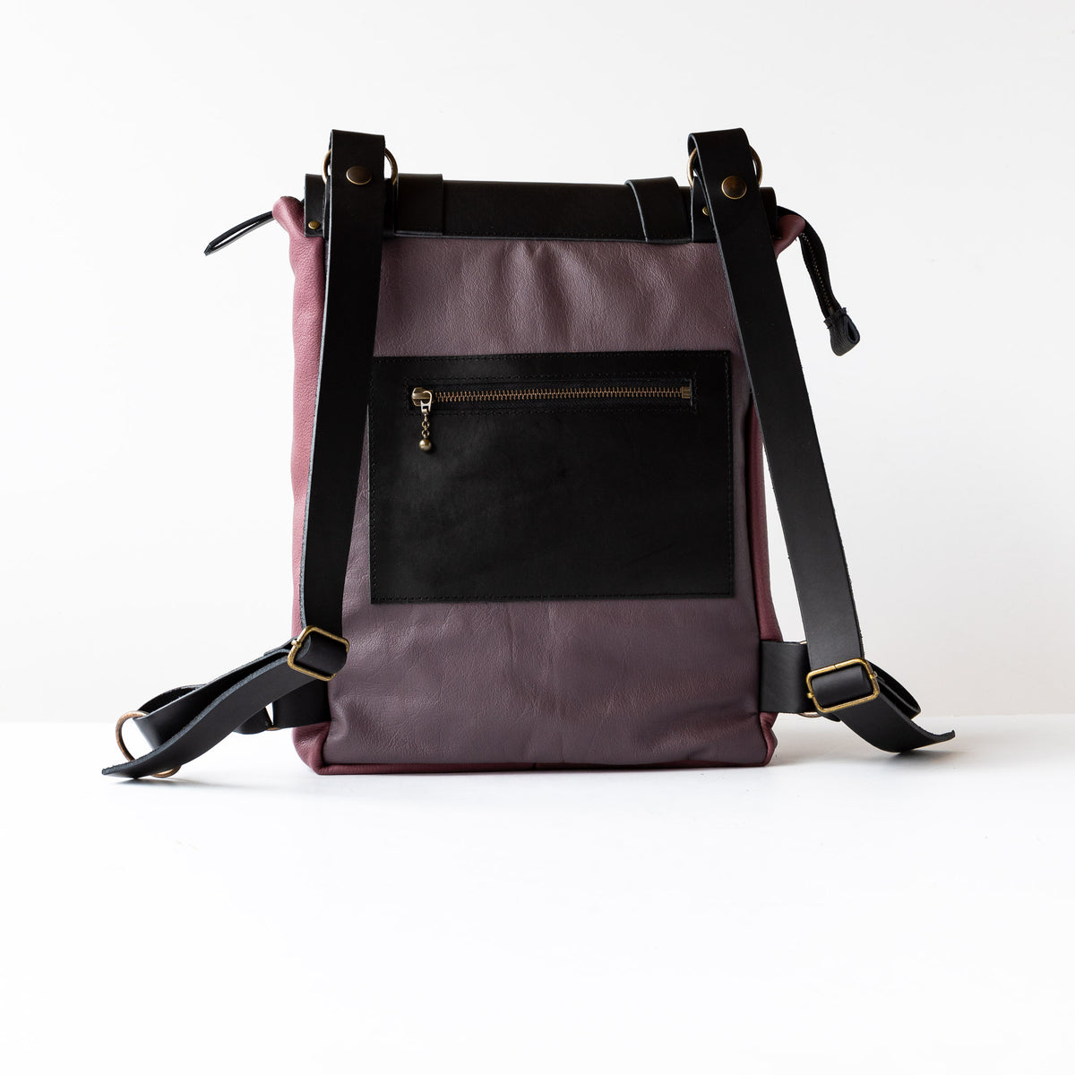 Rear View - Purple & Black Handcrafted Leather Backpack / Crossbody Bag - Sold by Chic & Basta