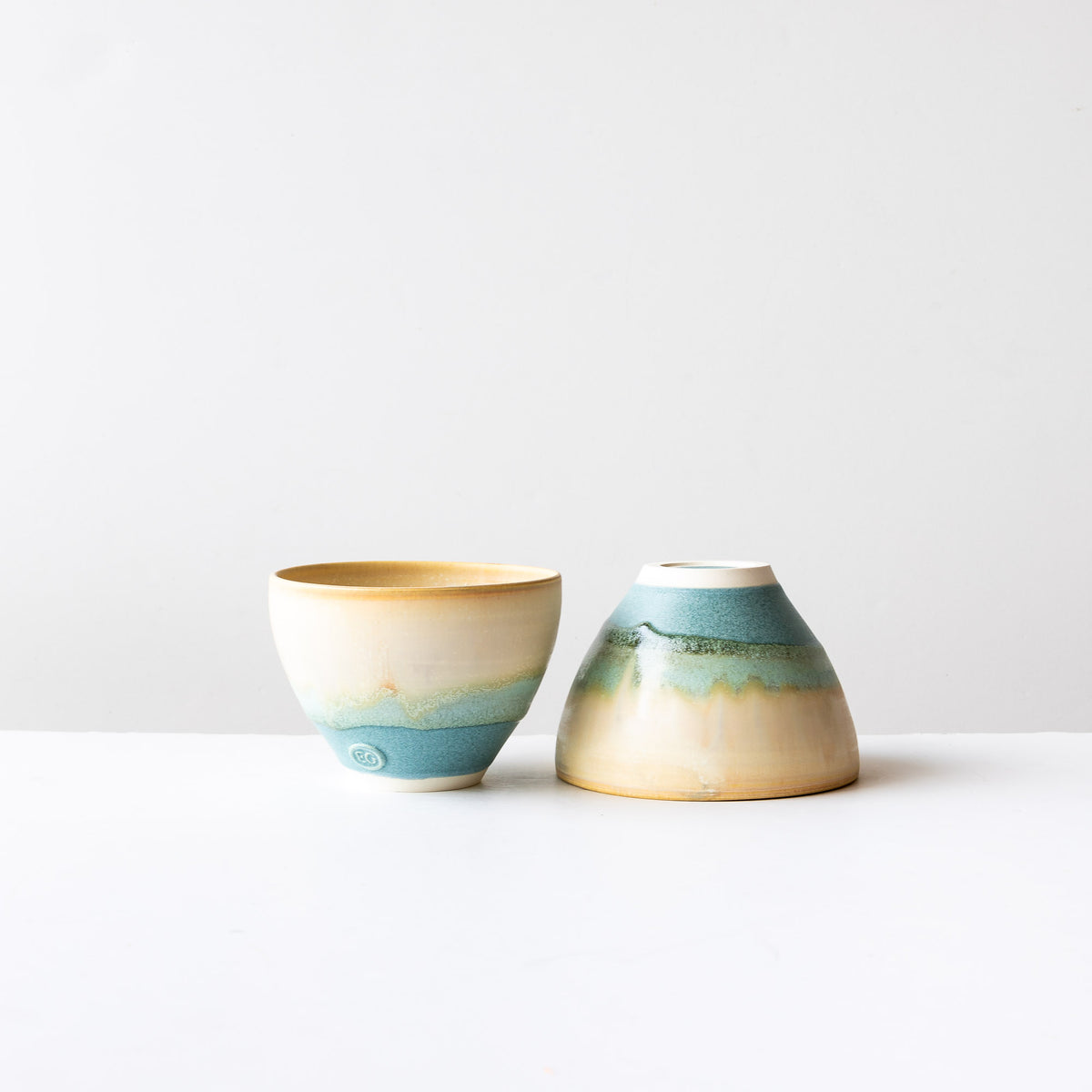 Two Handmade Ceramic Stoneware Bowls - Three Colours - Sold by Chic & Basta