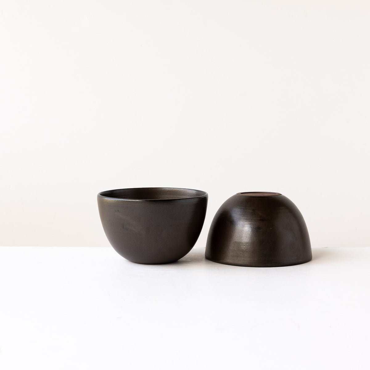 Two Black Handmade Stoneware Breakfast Bowls - Sold by Chic & Basta
