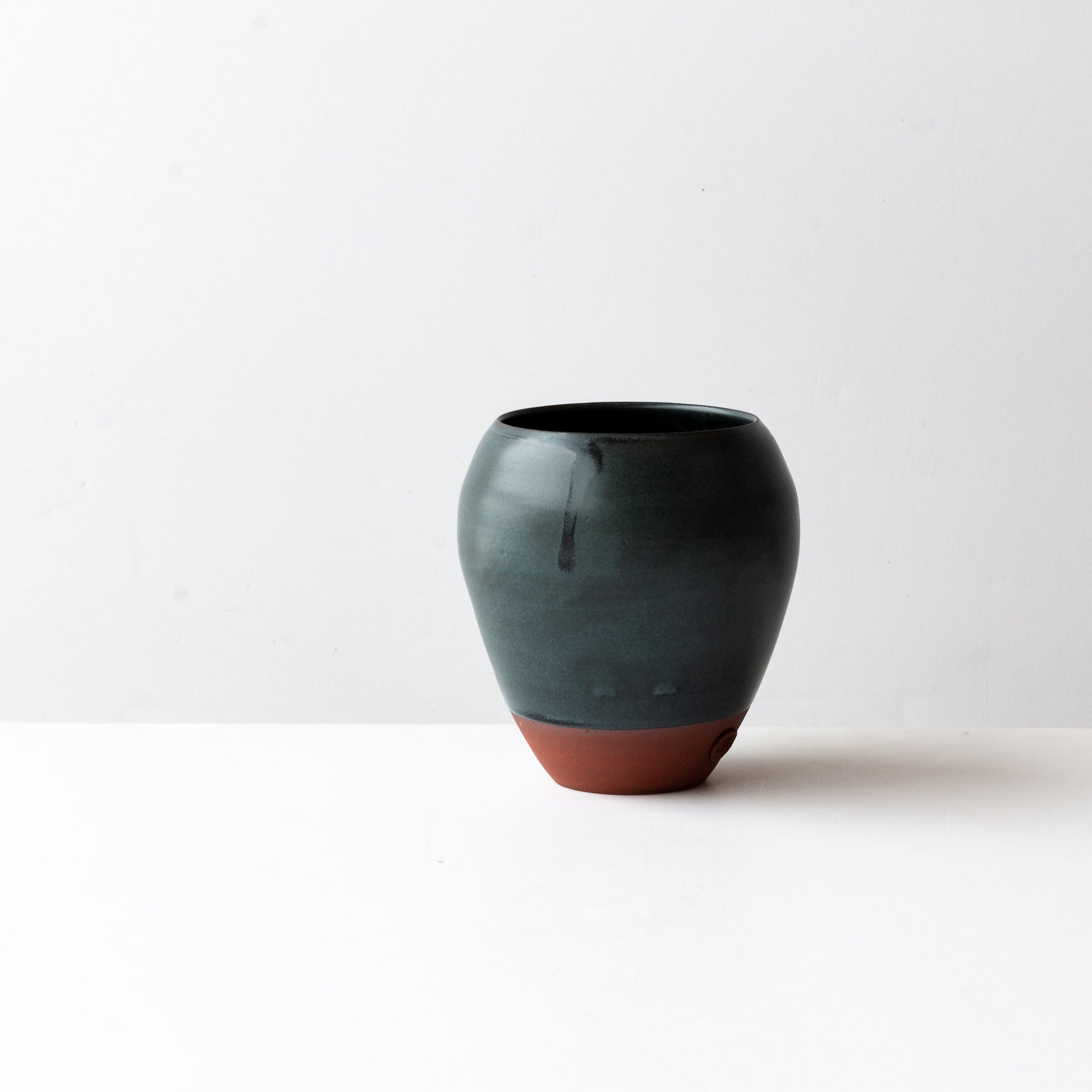 Charcoal Grey & Terracotta Flower Vase - Handmade in Stoneware - Sold by Chic & Basta