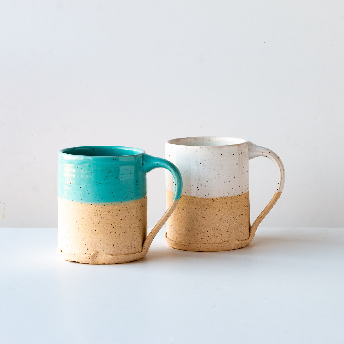 White Glaze & Turquoise Glaze - Two Handcrafted Speckled Stoneware Large Mugs - Sold by Chic & Basta