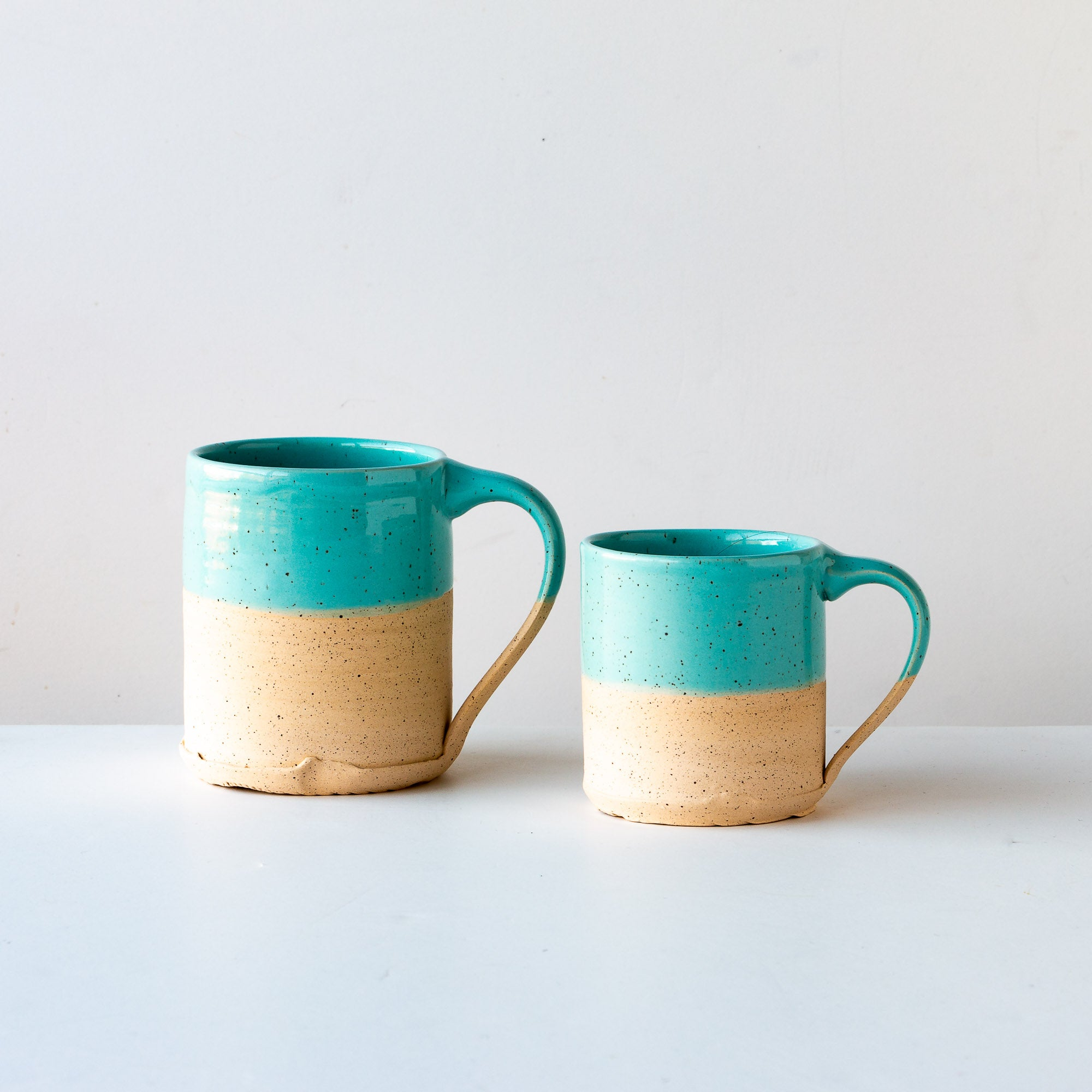 Turquoise Glaze - Handcrafted Speckled Stoneware Large Mug / Small Mug - Sold by Chic & Basta