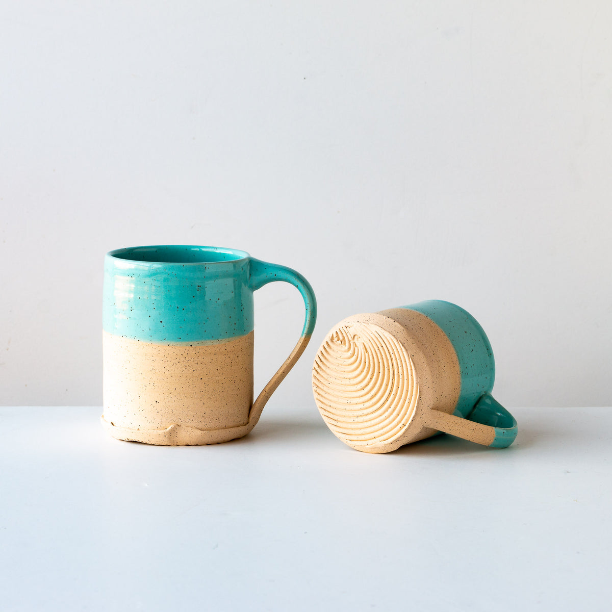 Turquoise Glaze - Two Handcrafted Speckled Stoneware Large Mugs - Sold by Chic & Basta