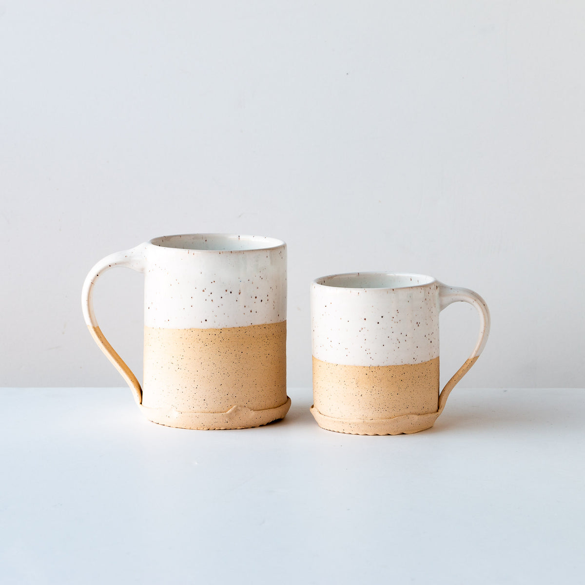 White Glaze - Handcrafted Speckled Stoneware Large Mug / Small Mug - Sold by Chic & Basta