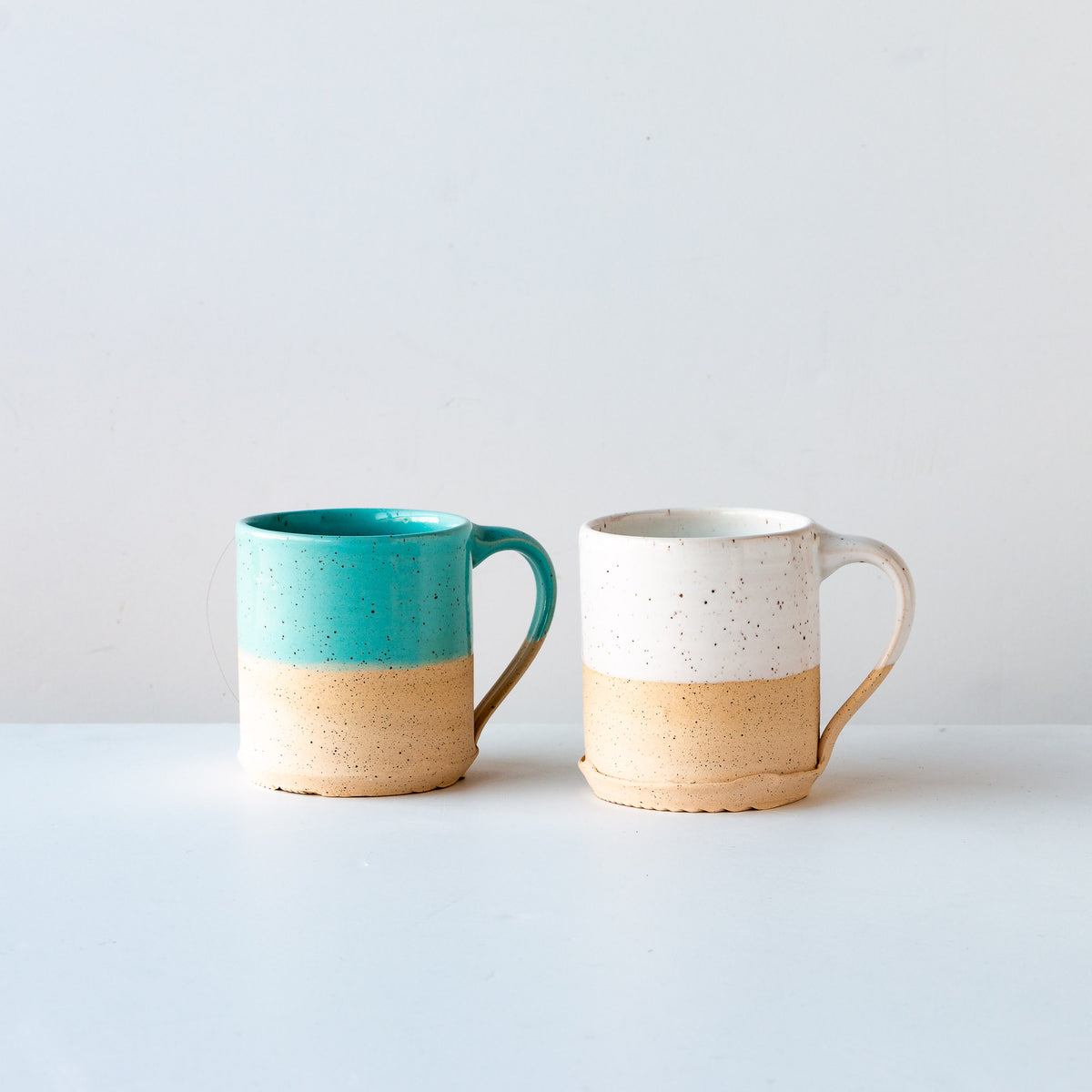 Turquoise Glaze & Wwite Glaze - Handcrafted Speckled Stoneware Large Mug / Small Mug - Sold by Chic & Basta