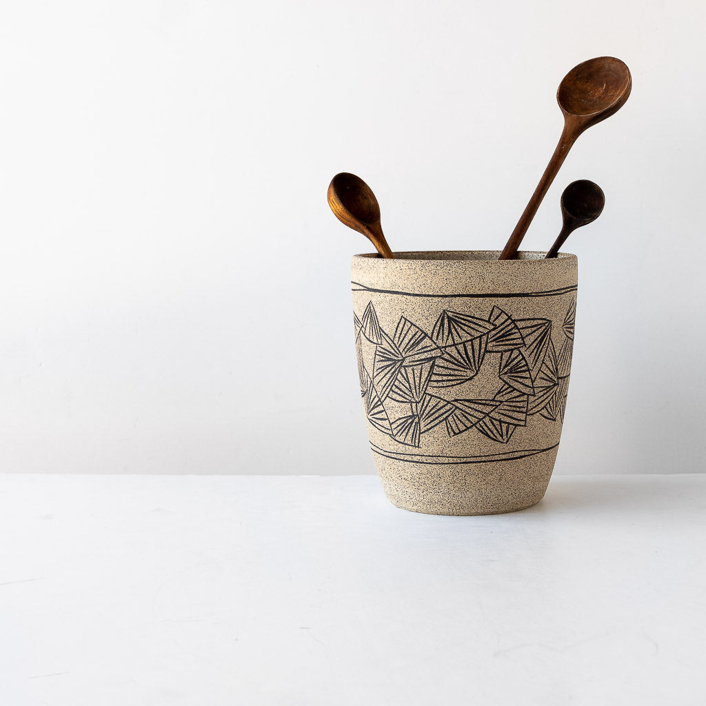 Folding Fan Pattern - Handmade Stoneware Pot with Mishima Engraving - Sold by Chic & Basta