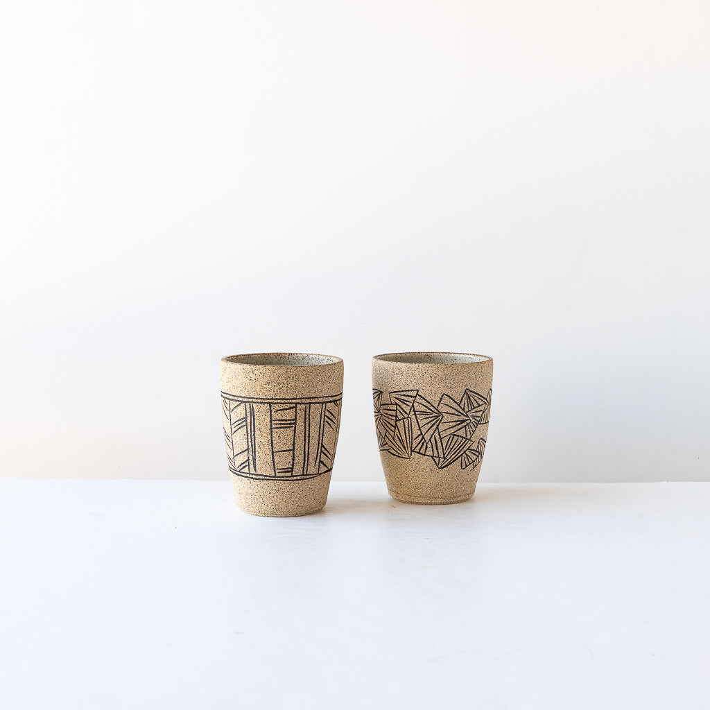 Two Handmade Stoneware Tumblers with Mishima Engraving - Sold by Chic & Basta