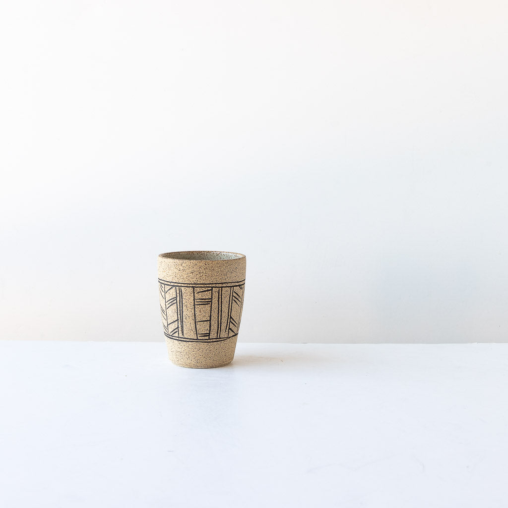 Lines Pattern - Handmade Stoneware Tumbler with Mishima Engraving - Sold by Chic & Basta