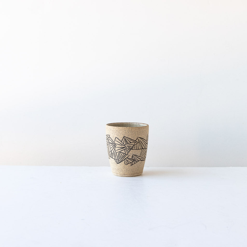 Folding Fan Pattern - Handmade Stoneware Tumbler with Mishima Engraving - Sold by Chic & Basta
