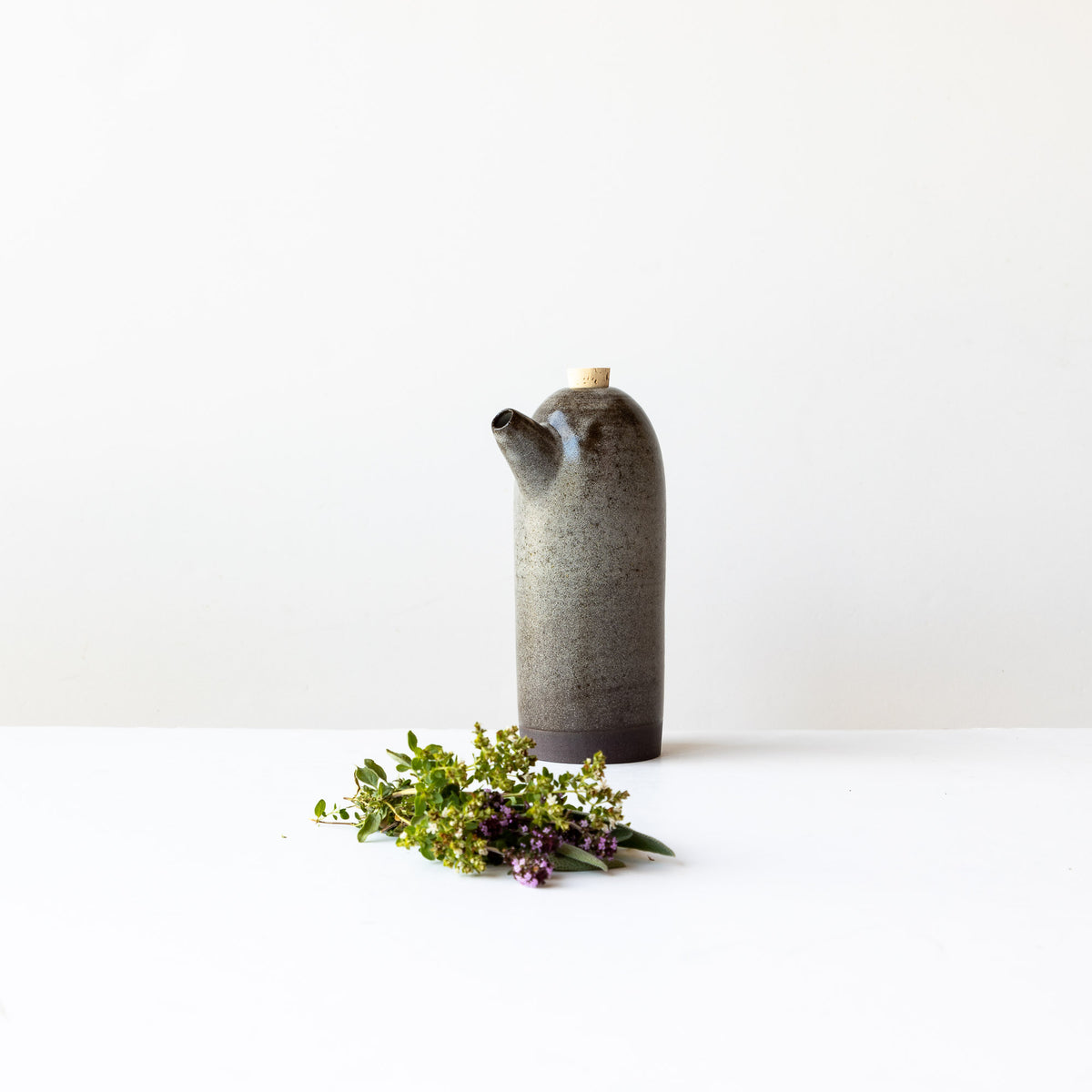 Grey Handmade Stoneware Vinegar Bottle - Sold by Chic & Basta