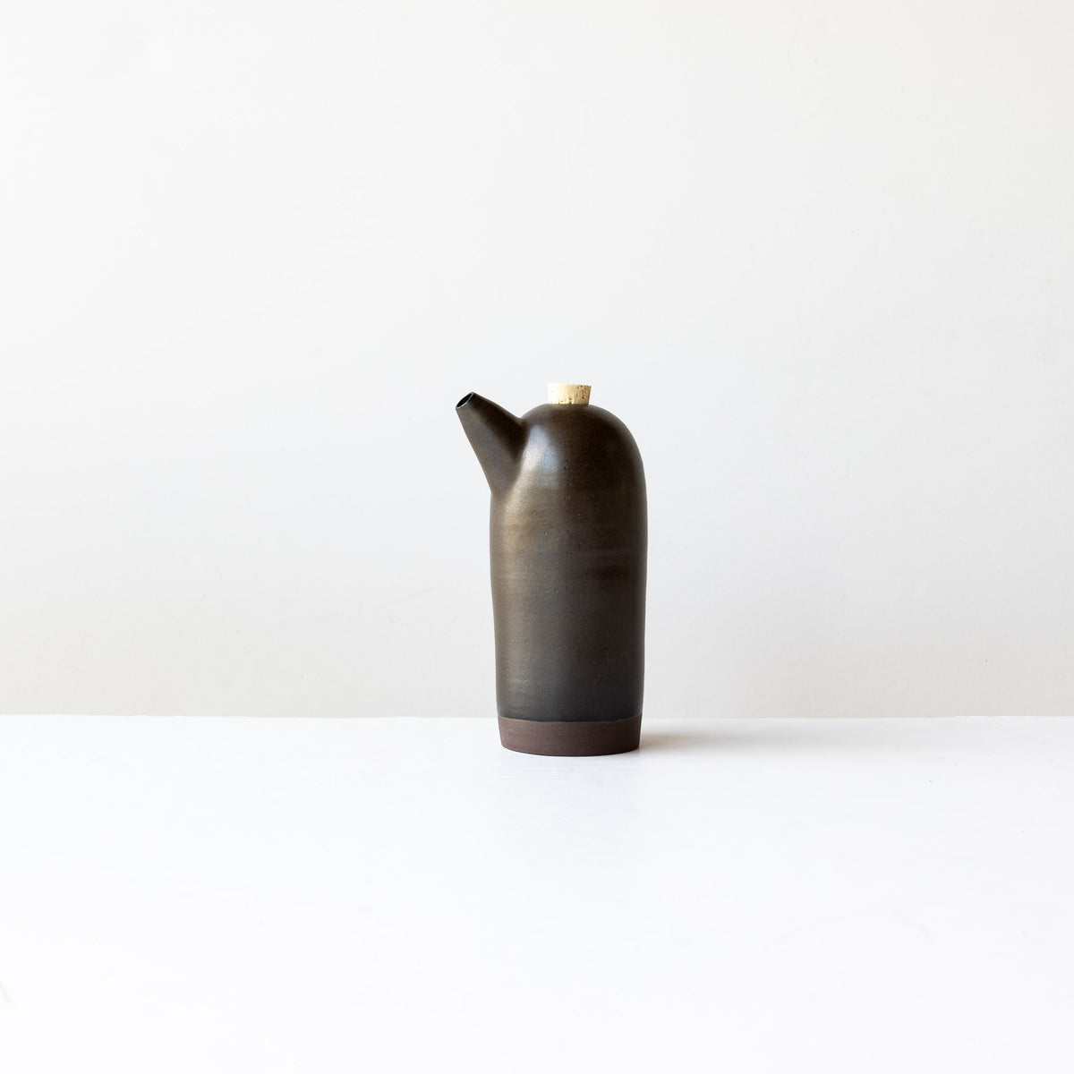 Black Handmade Stoneware Vinegar Bottle - Sold by Chic & Basta