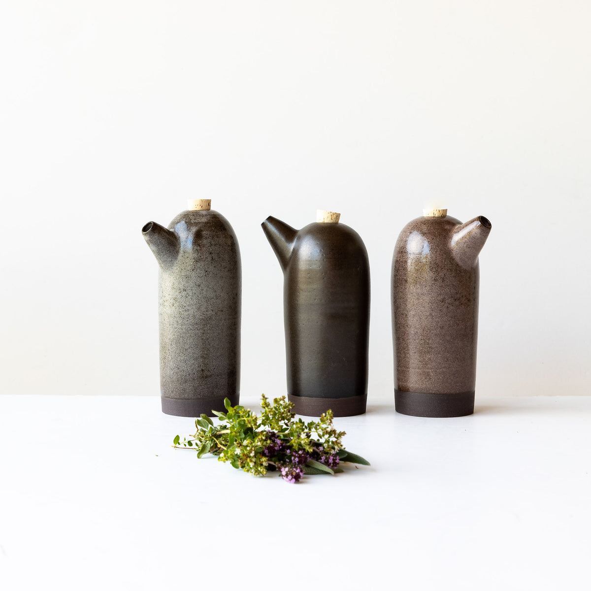Three Handmade Stoneware Vinegar Bottles - Sold by Chic & Basta