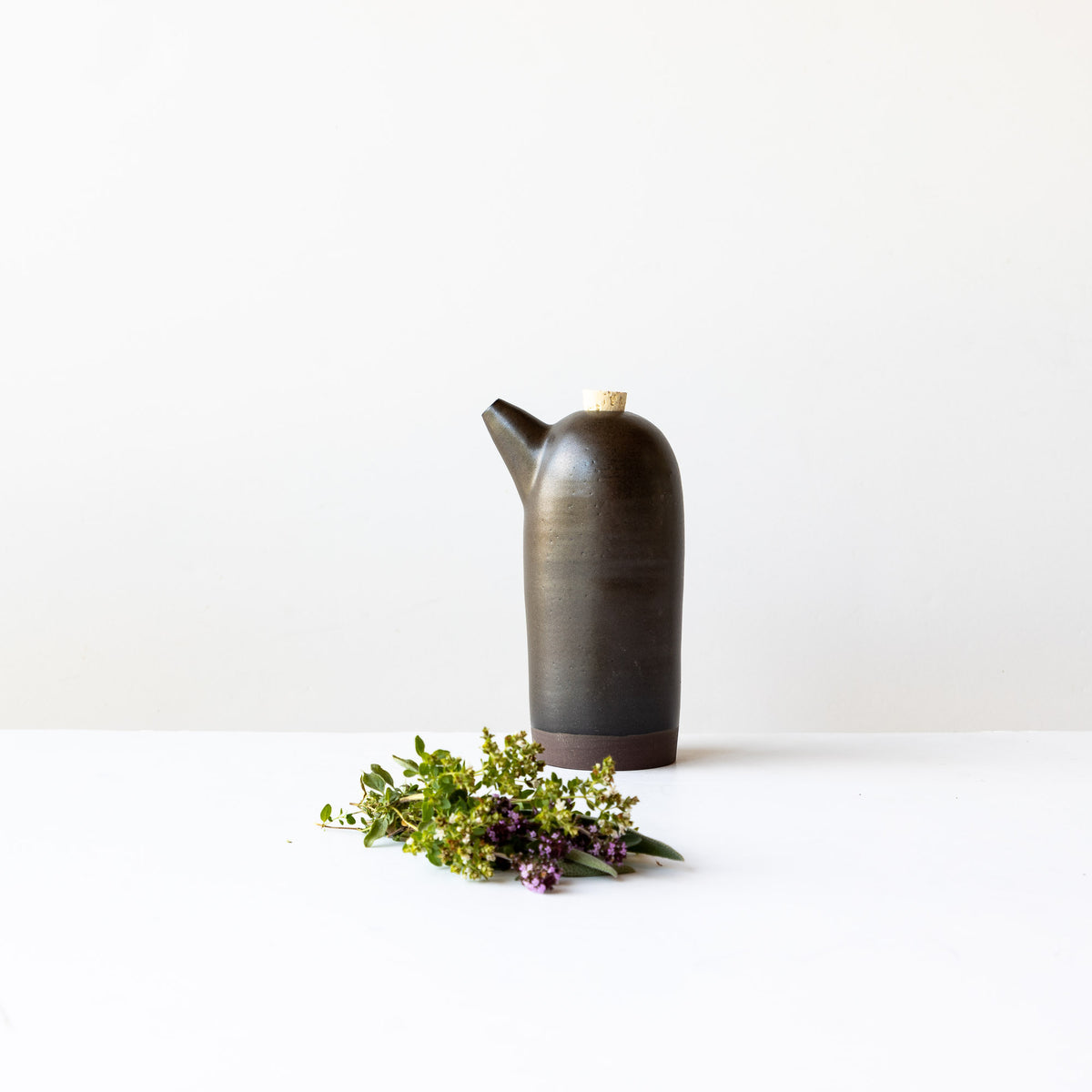 Black Handmade Ceramic Vinegar Bottle - Sold by Chic & Basta