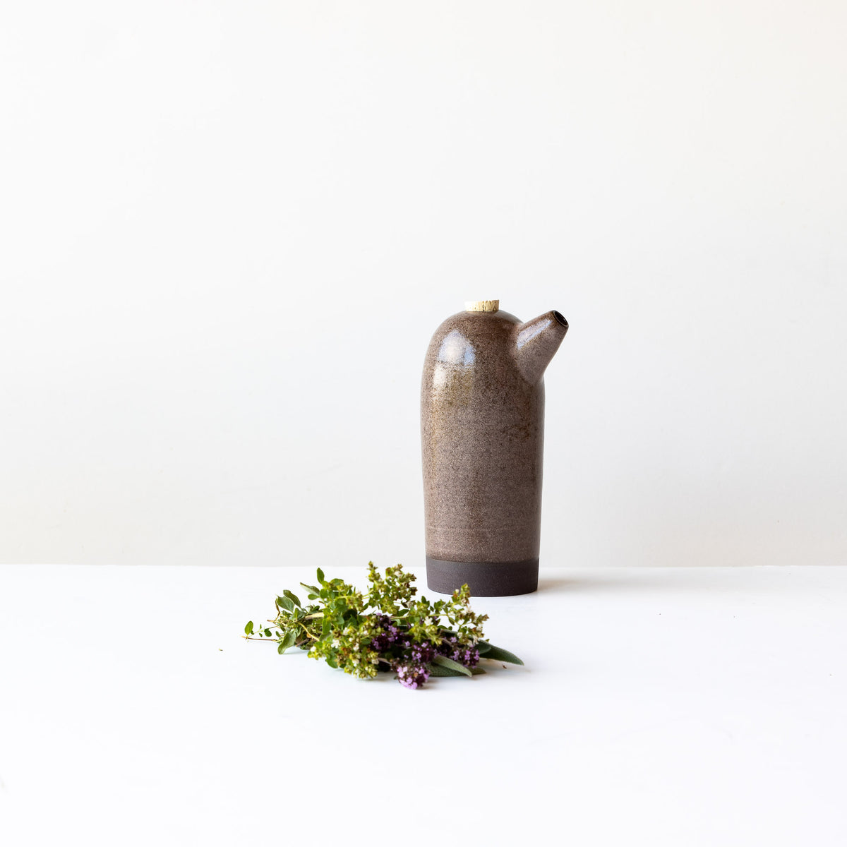 Dark Pink Handmade Stoneware Vinegar Bottle - Sold by Chic & Basta
