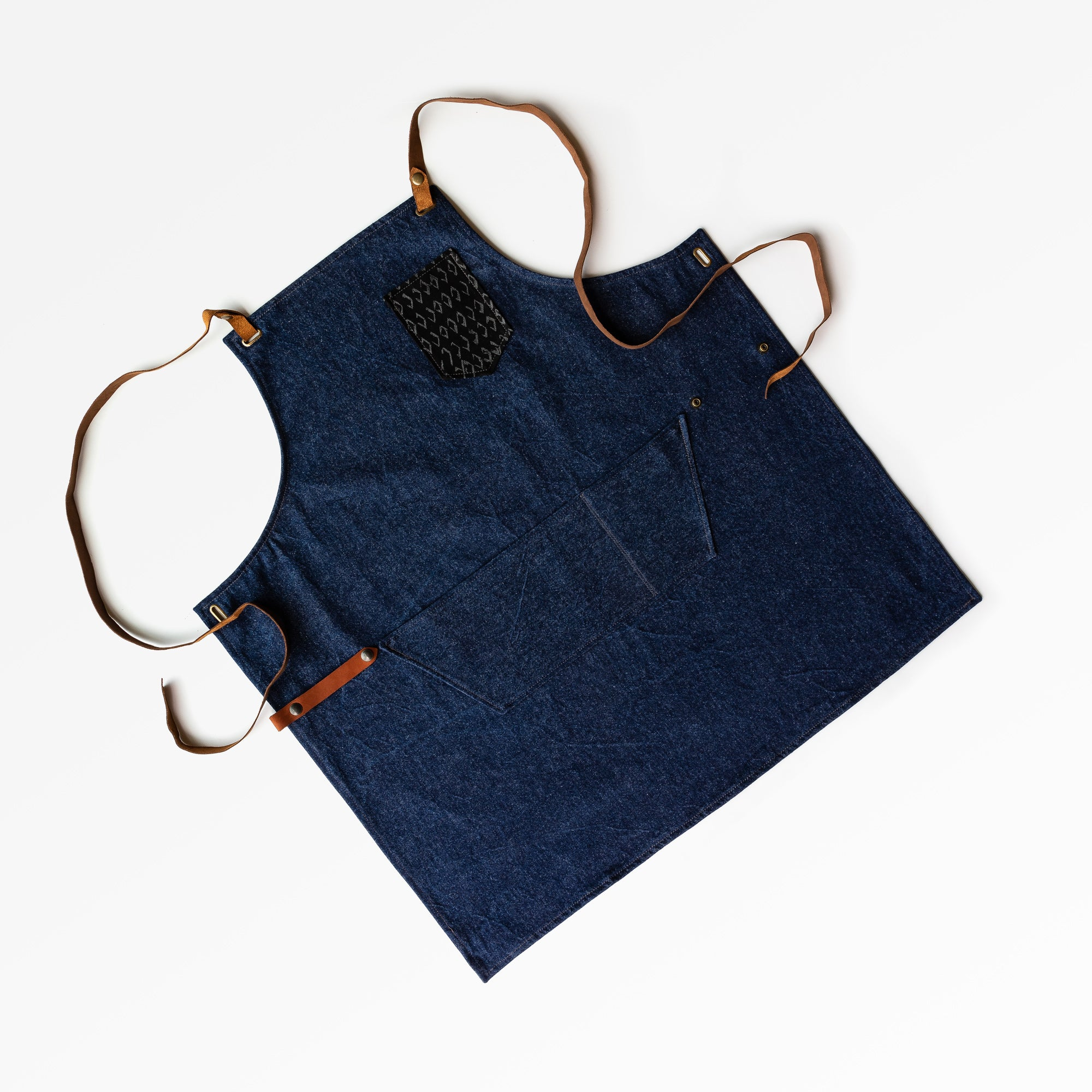 Diamonds Pattern - Handmade Sturdy Workshop & Gardening Apron in Denim & Leather - Sold by Chic & Basta