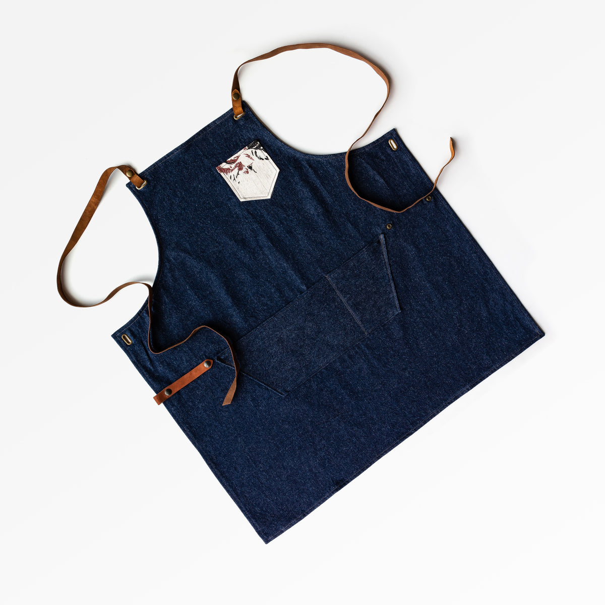 Floral Pattern - Handmade Sturdy Workshop & Gardening Apron in Denim & Leather - Sold by Chic & Basta