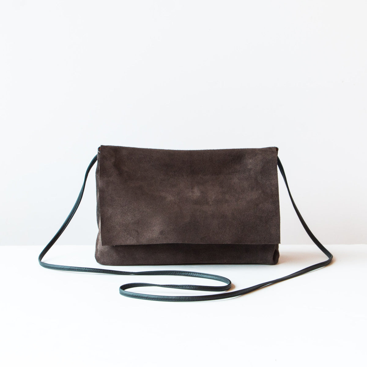 Greystone & Orange - Handmade Flap Purse in Calf Suede & Pork Suede Lining - Sold by Chic & Basta